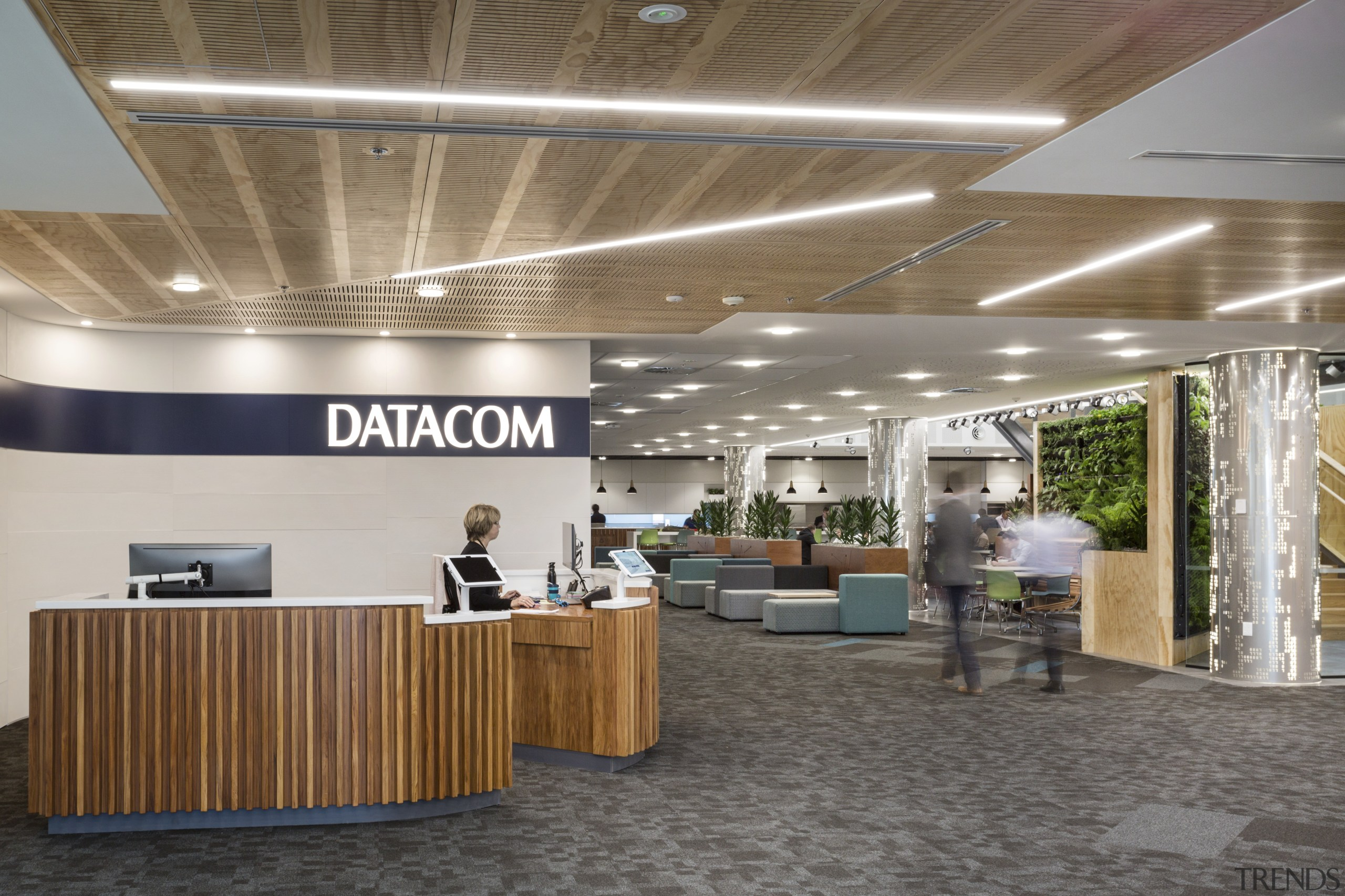Welcome to Datacom  an emphasis on natural ceiling, interior design, lobby, office, gray, brown