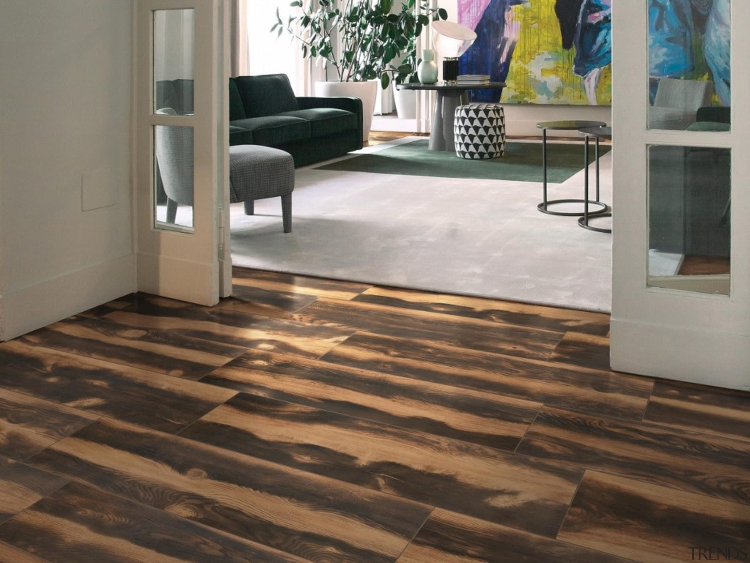The striking tonal variation of Burned Tanned emulates floor, flooring, hardwood, laminate flooring, tile, wood, wood flooring, gray, black