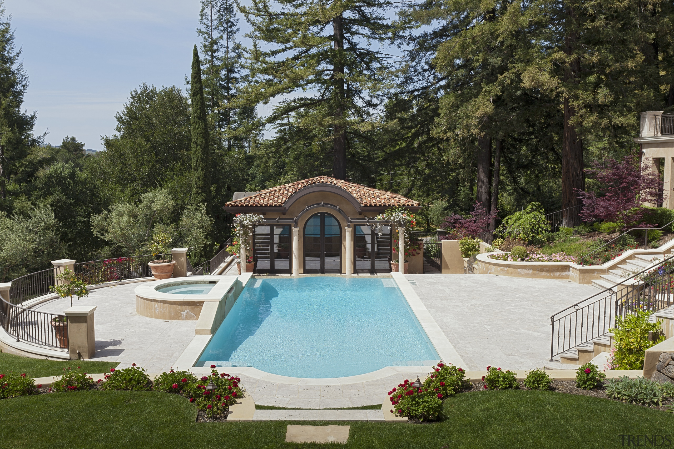 Swimming pool and terra cotta-tiled pool house in backyard, estate, home, house, landscaping, leisure, mansion, outdoor structure, property, real estate, swimming pool, villa, yard, brown