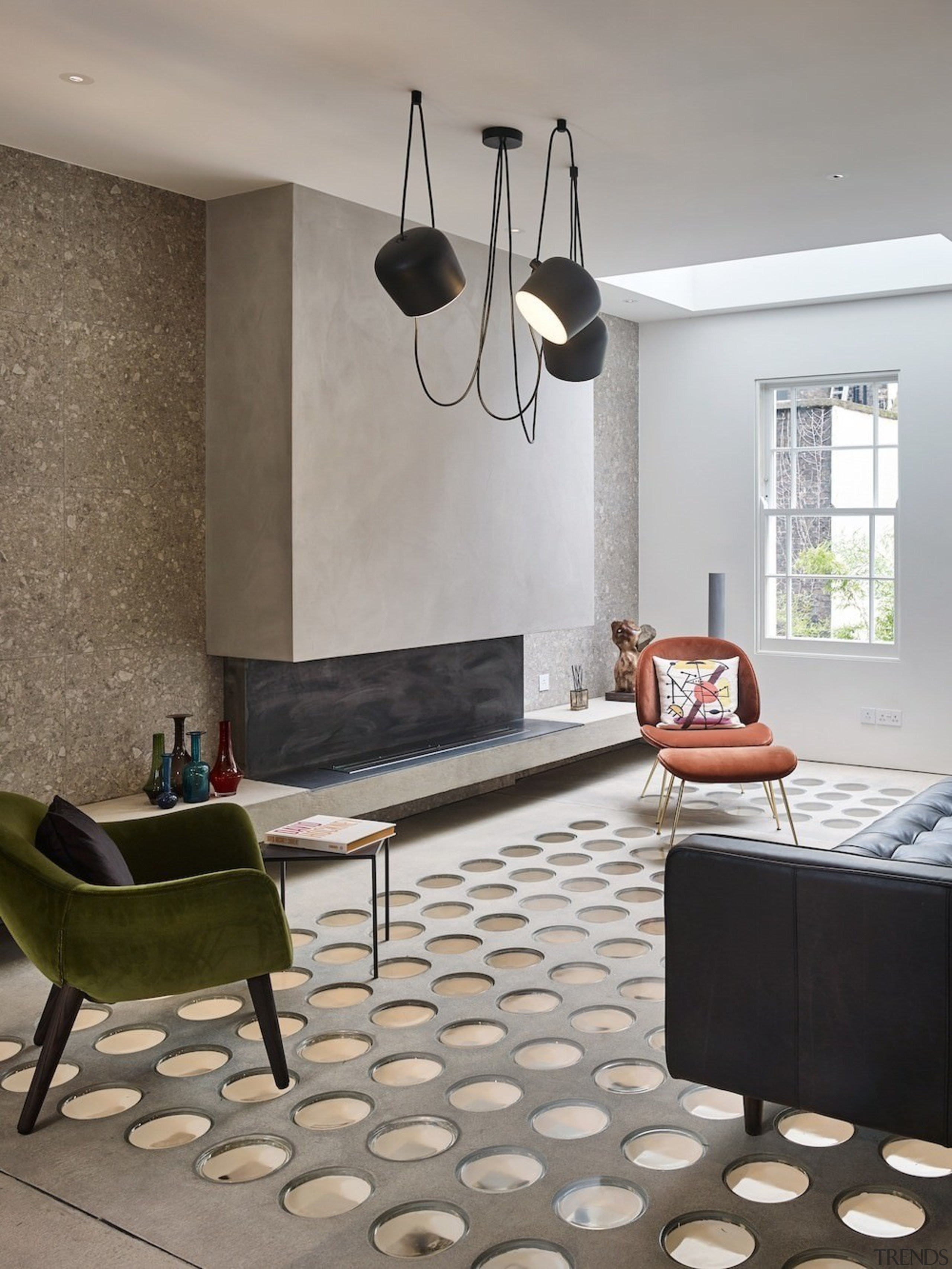 Andy Martin Architecture – Renovation in London - ceiling, floor, flooring, furniture, home, interior design, light fixture, living room, room, table, wall, gray