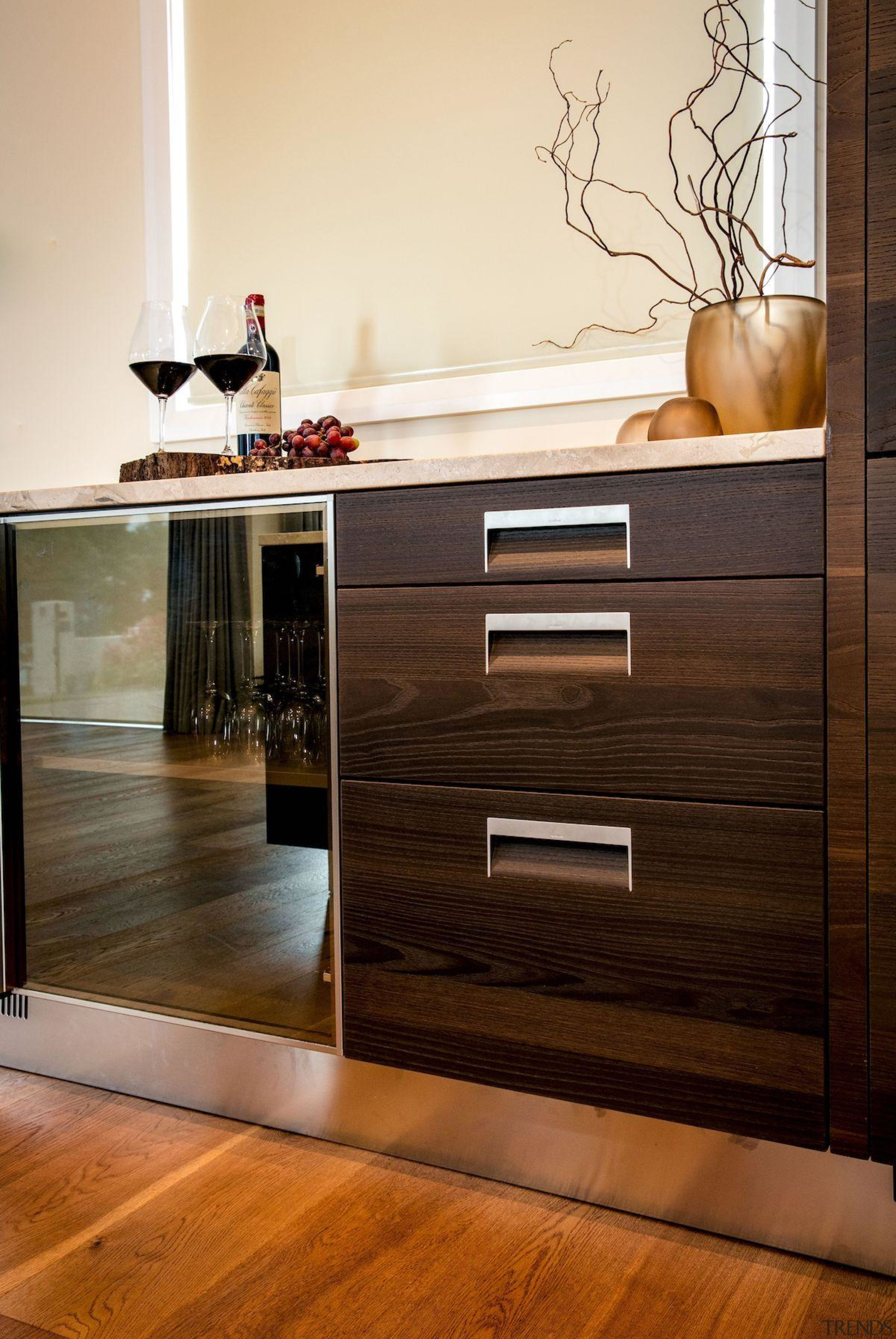 Arclinea kitchen design by Laura Ellis, Matisse - cabinetry, chest of drawers, drawer, floor, flooring, furniture, hardwood, interior design, laminate flooring, shelf, sideboard, table, wood, wood flooring, wood stain, brown, orange