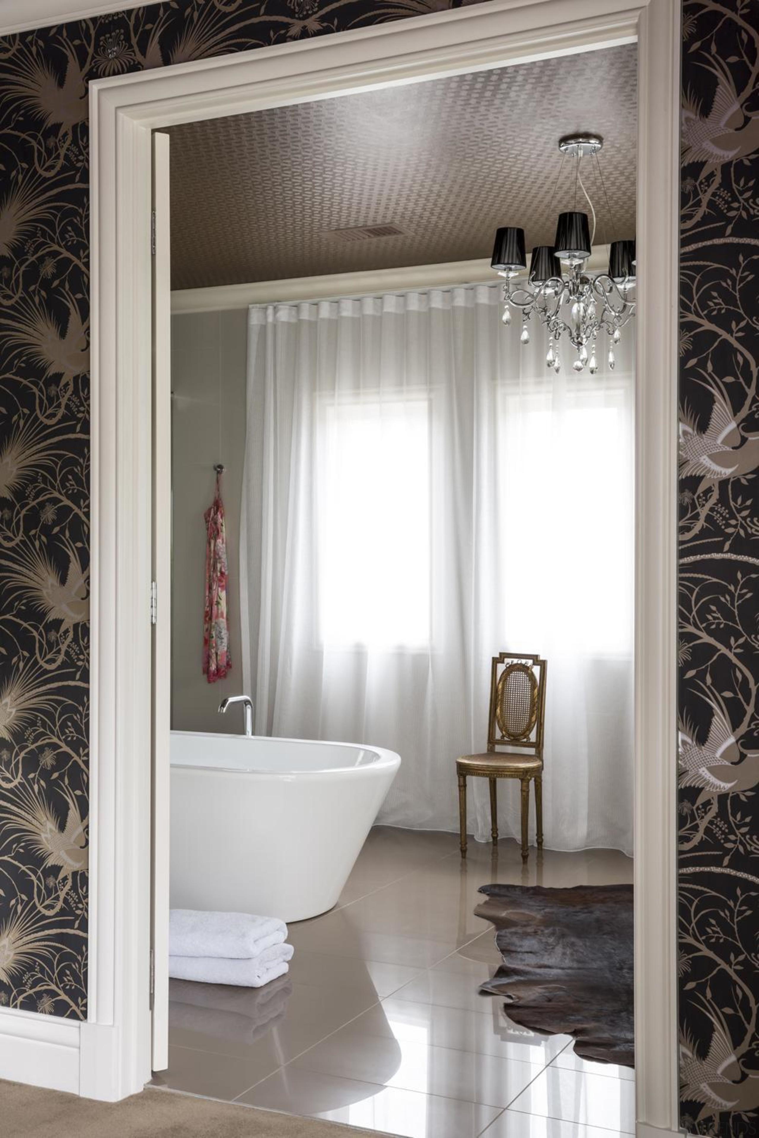 Master Bedroom - bathroom | ceiling | curtain bathroom, ceiling, curtain, floor, flooring, home, interior design, room, wall, window, window treatment, white, gray