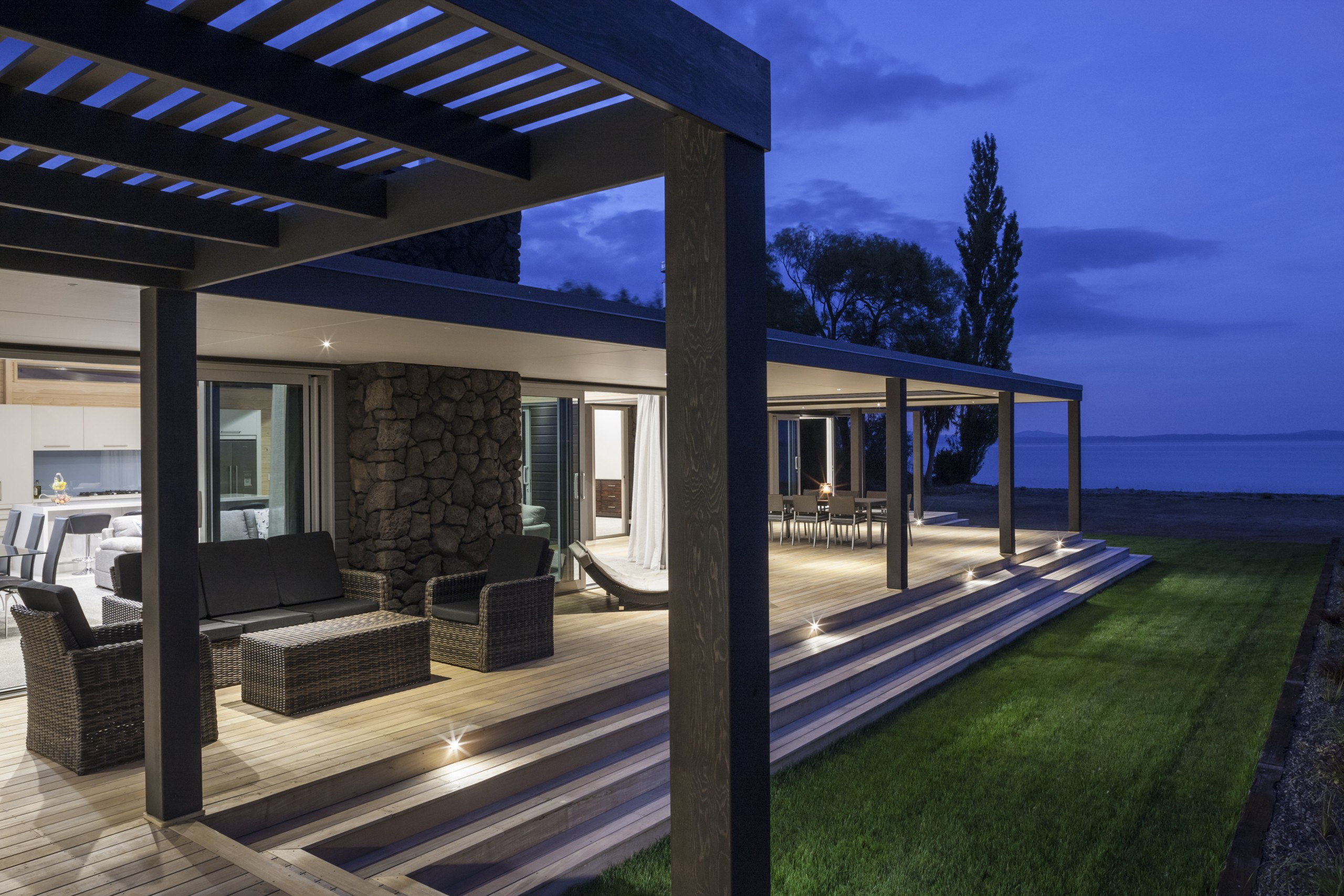 Lockwood Home built by Peter Richards - Lockwood home, house, lighting, outdoor structure, property, real estate, blue