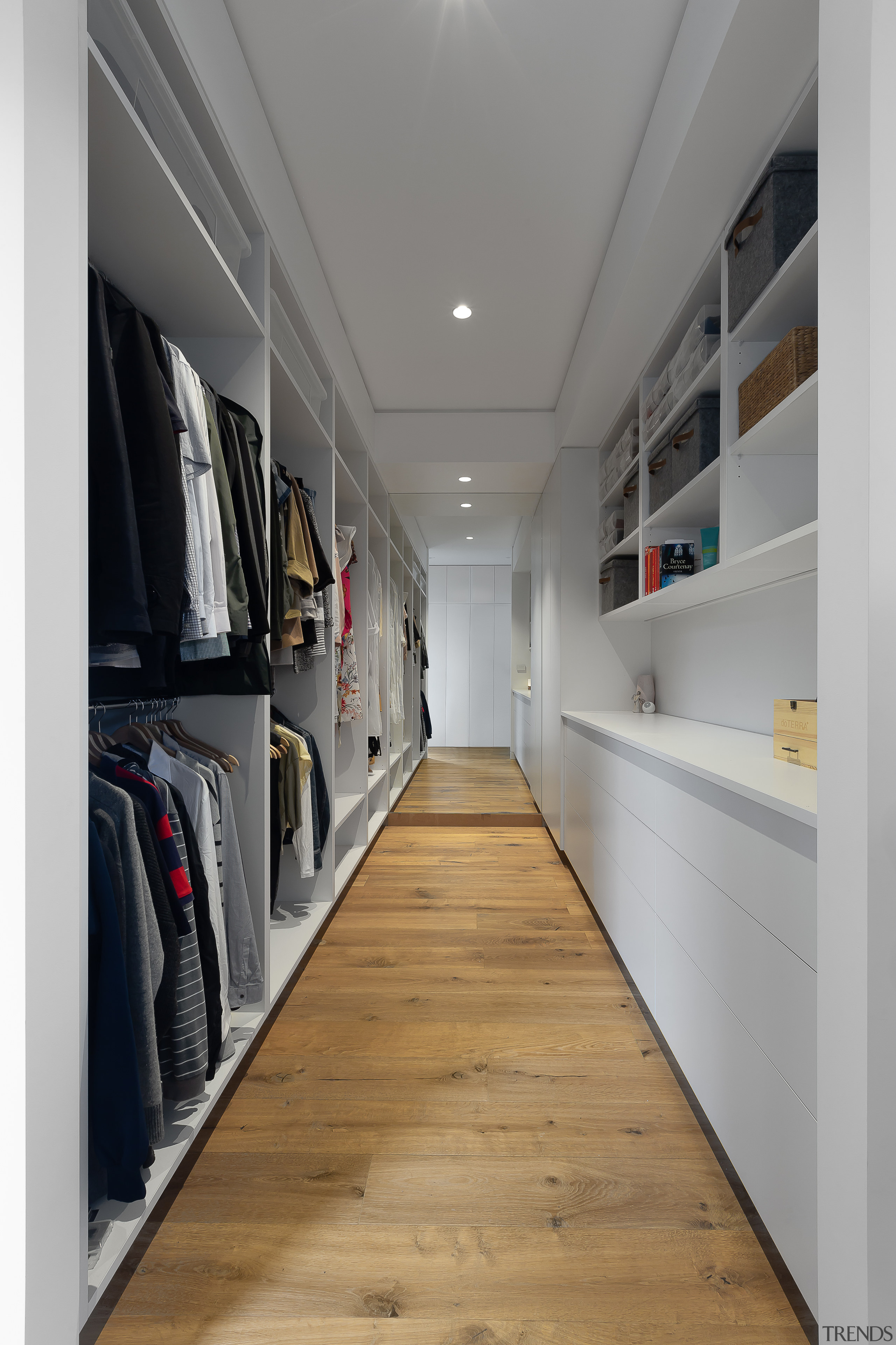 The long walk-in robe in this master suite gray