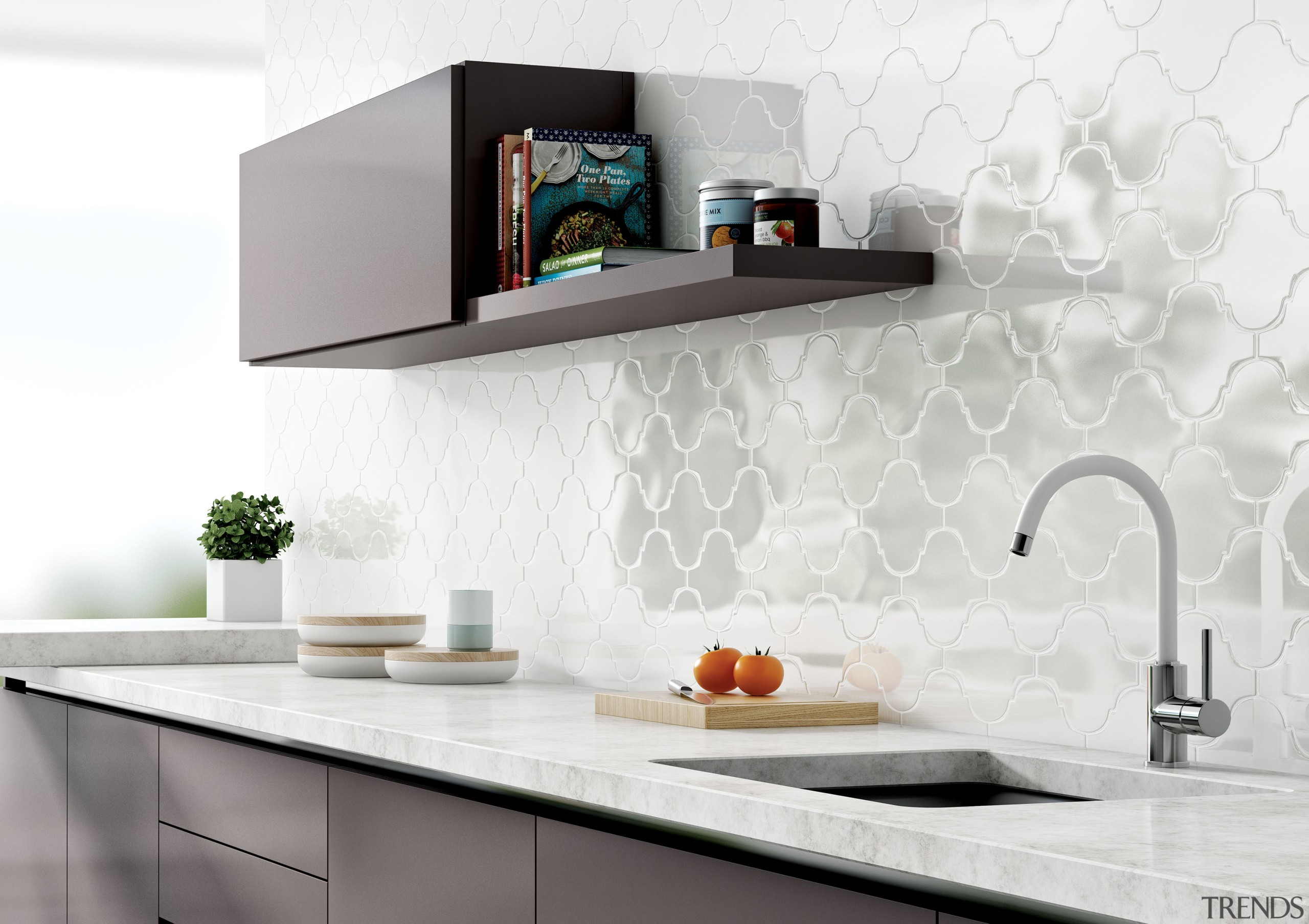 This Turkish-inspired tile from Tile Trends typifies a countertop, furniture, interior design, kitchen, product design, shelf, shelving, table, tap, wall, white