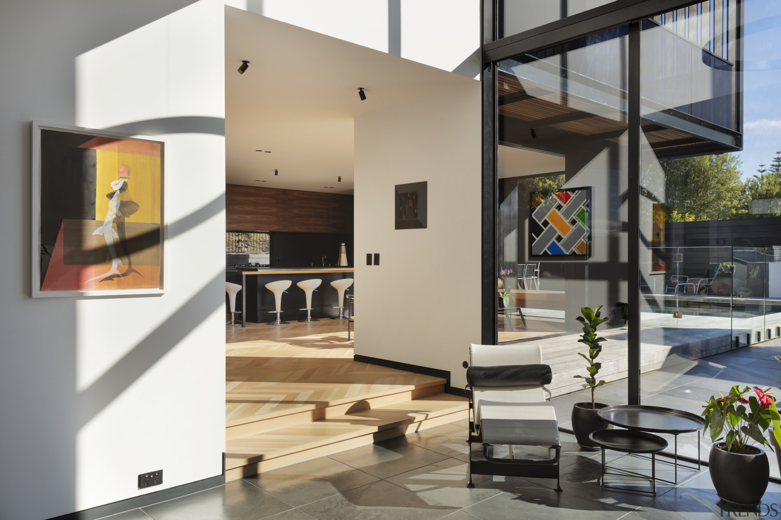 1970's home becomes a modern entertainer's dream - architecture, building, ceiling, design, door, facade, floor, flooring, furniture, home, house, interior design, living room, loft, property, real estate, room, window, gray