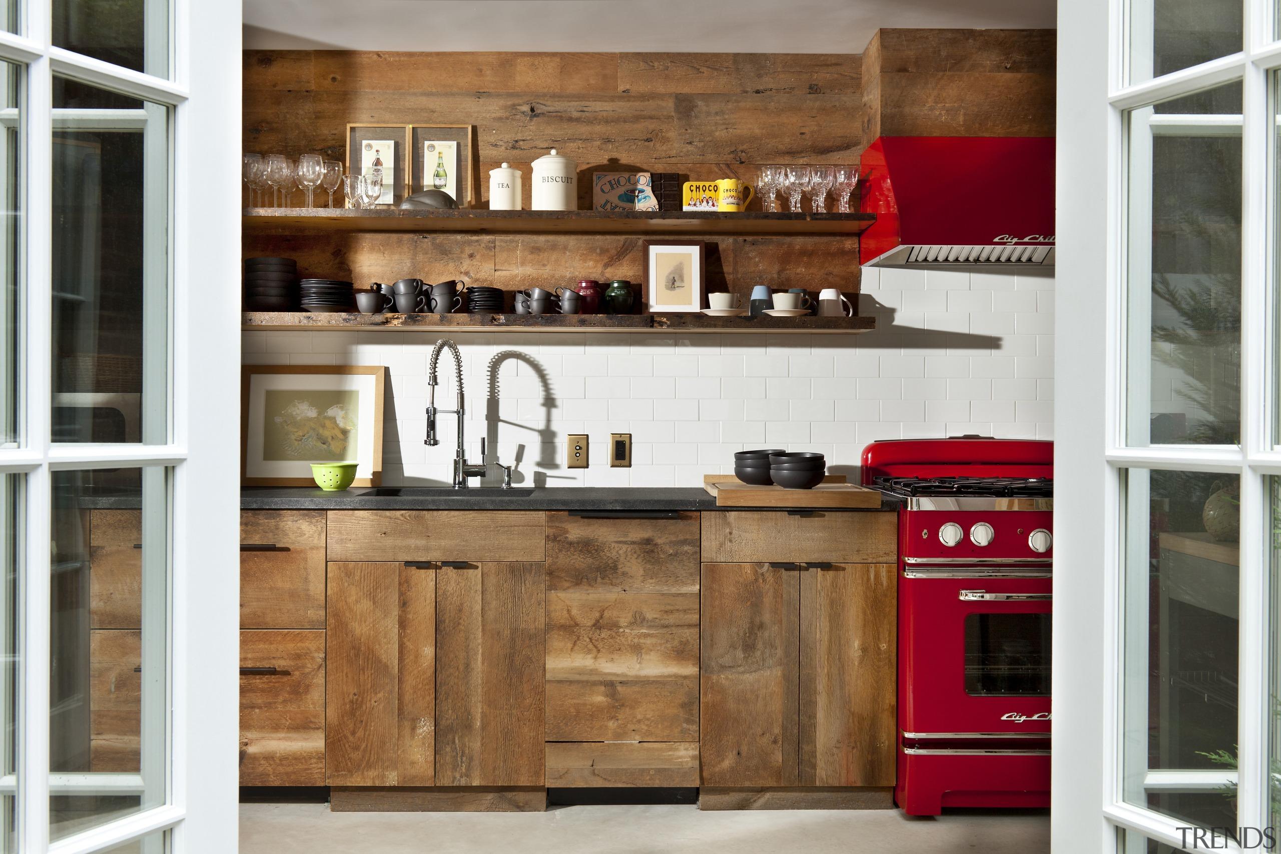 Kitchenette in Manhattan townhouse remodel - Kitchenette in cabinetry, countertop, cuisine classique, furniture, interior design, kitchen, shelf, wood, white, brown