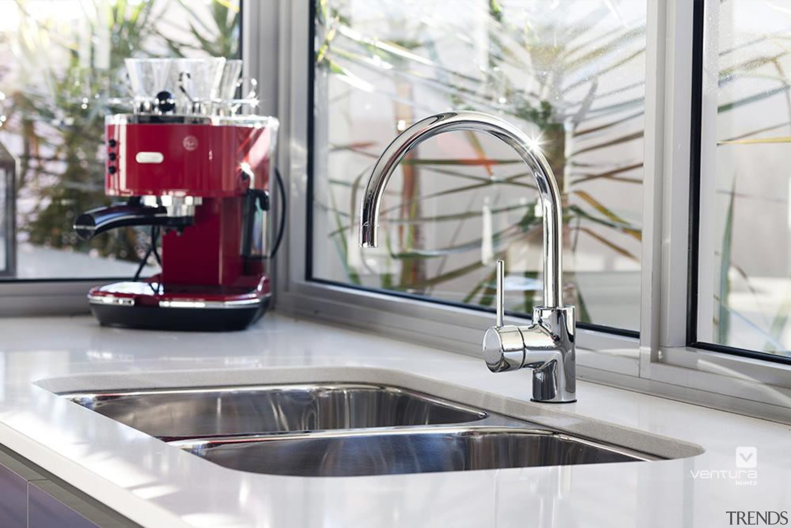 Kitchen design. - The Essence Display Home - countertop, sink, tap, white