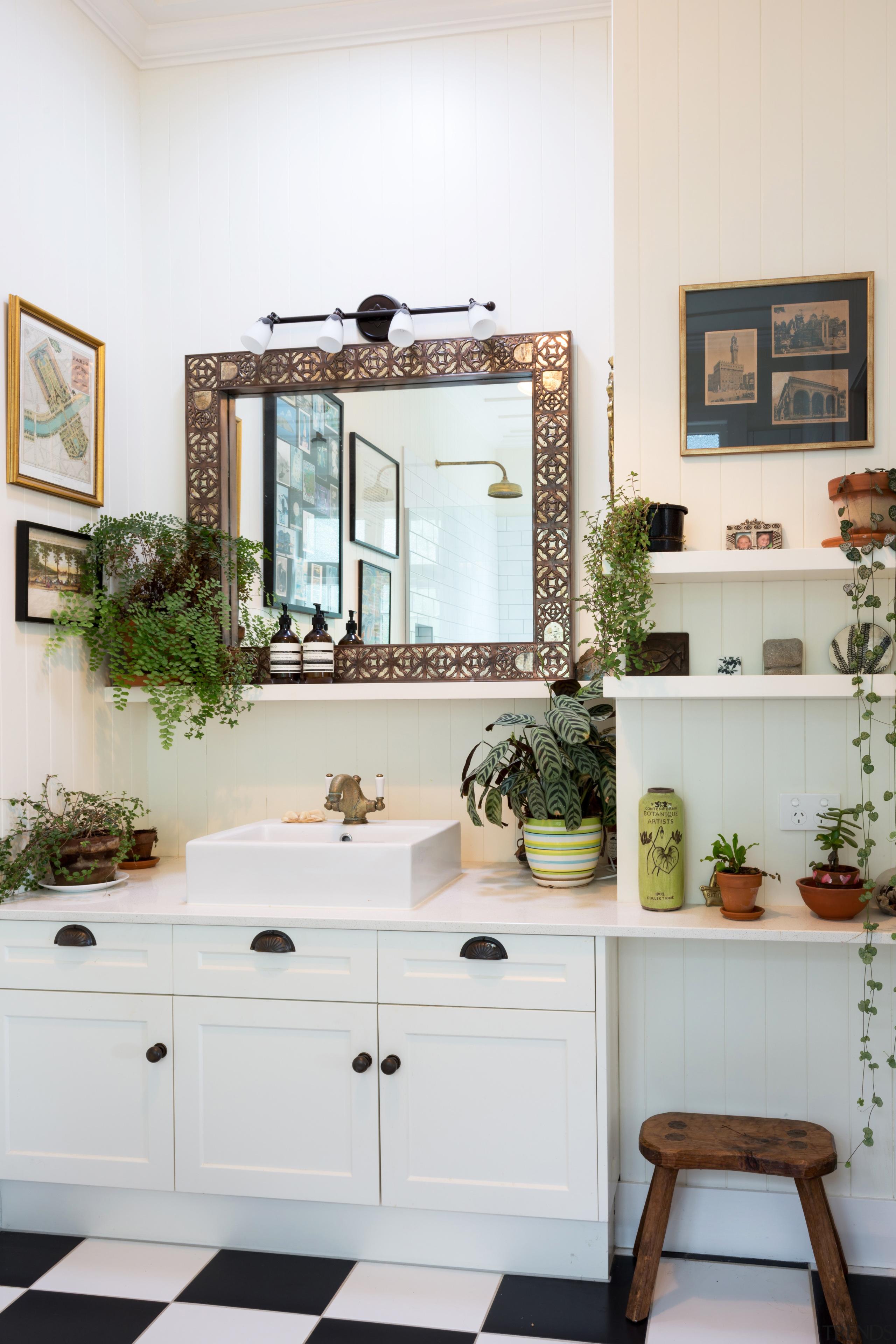 Ample dedicated niche and shelf storage is worked bathroom, furniture, home, interior design, room, sink, window, white