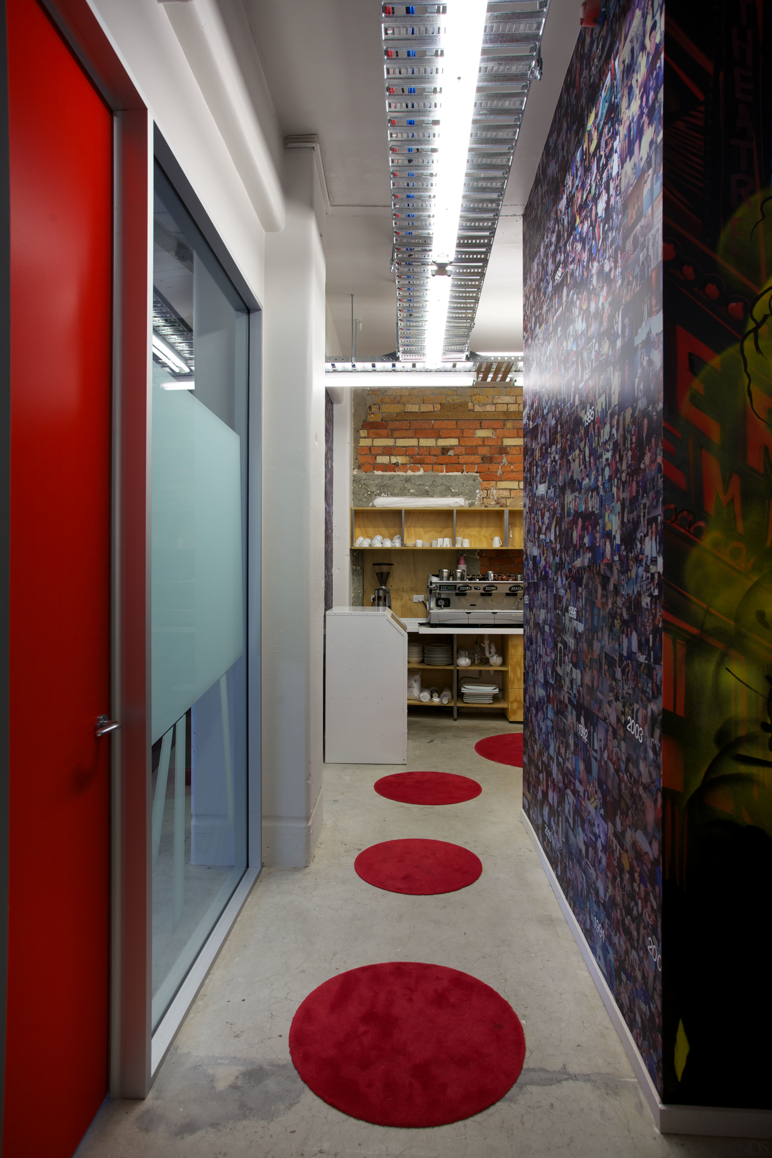 Bright colour and a touch of pizzazz in architecture, ceiling, interior design, lobby, gray, red