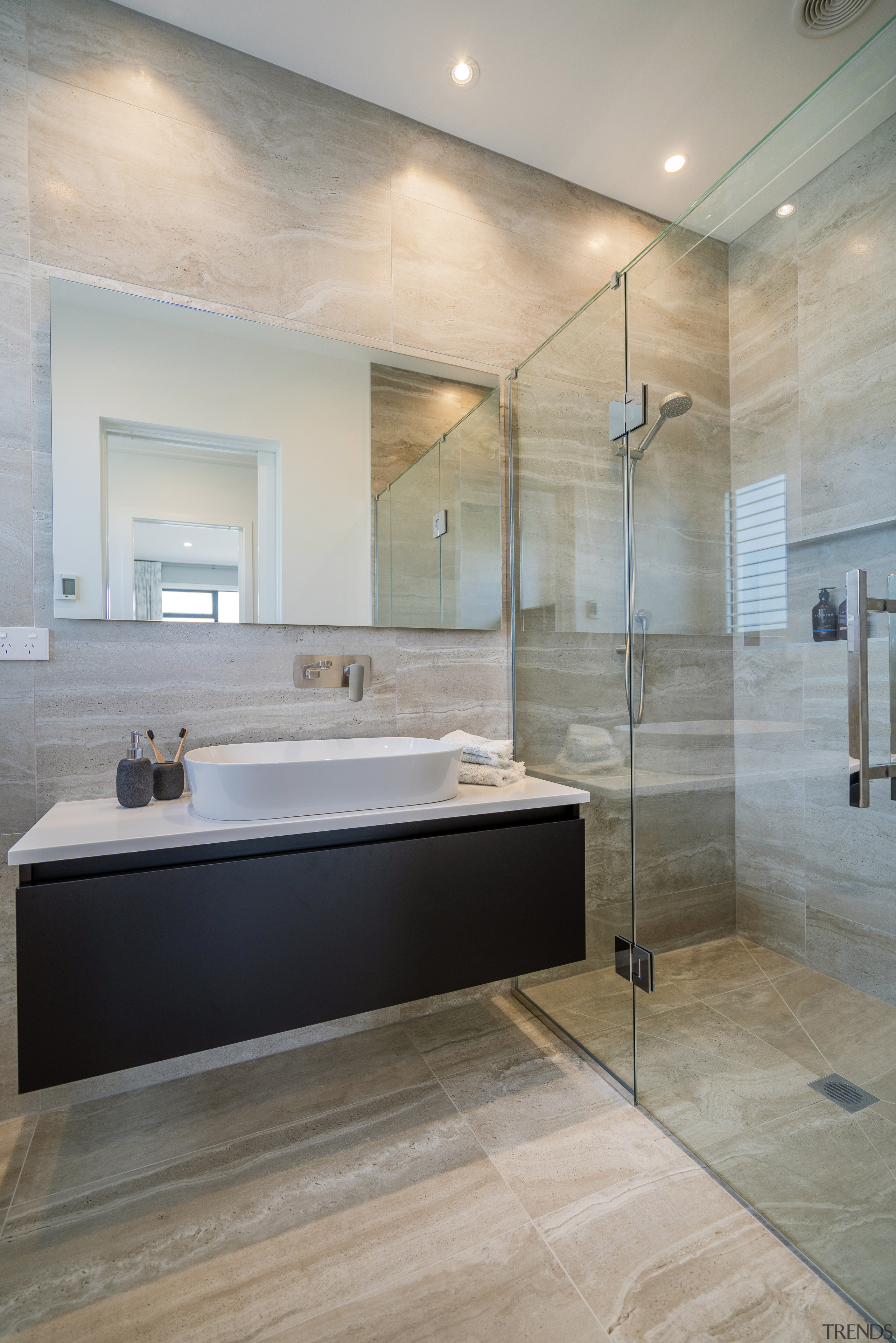 Luxury surfaces and modern fixtures feature in the architecture, master bathroom, home, interior design, Master bathroom, sink, tile, wall, wood flooring, gray, Landmark Homes,  Coromandel showhome