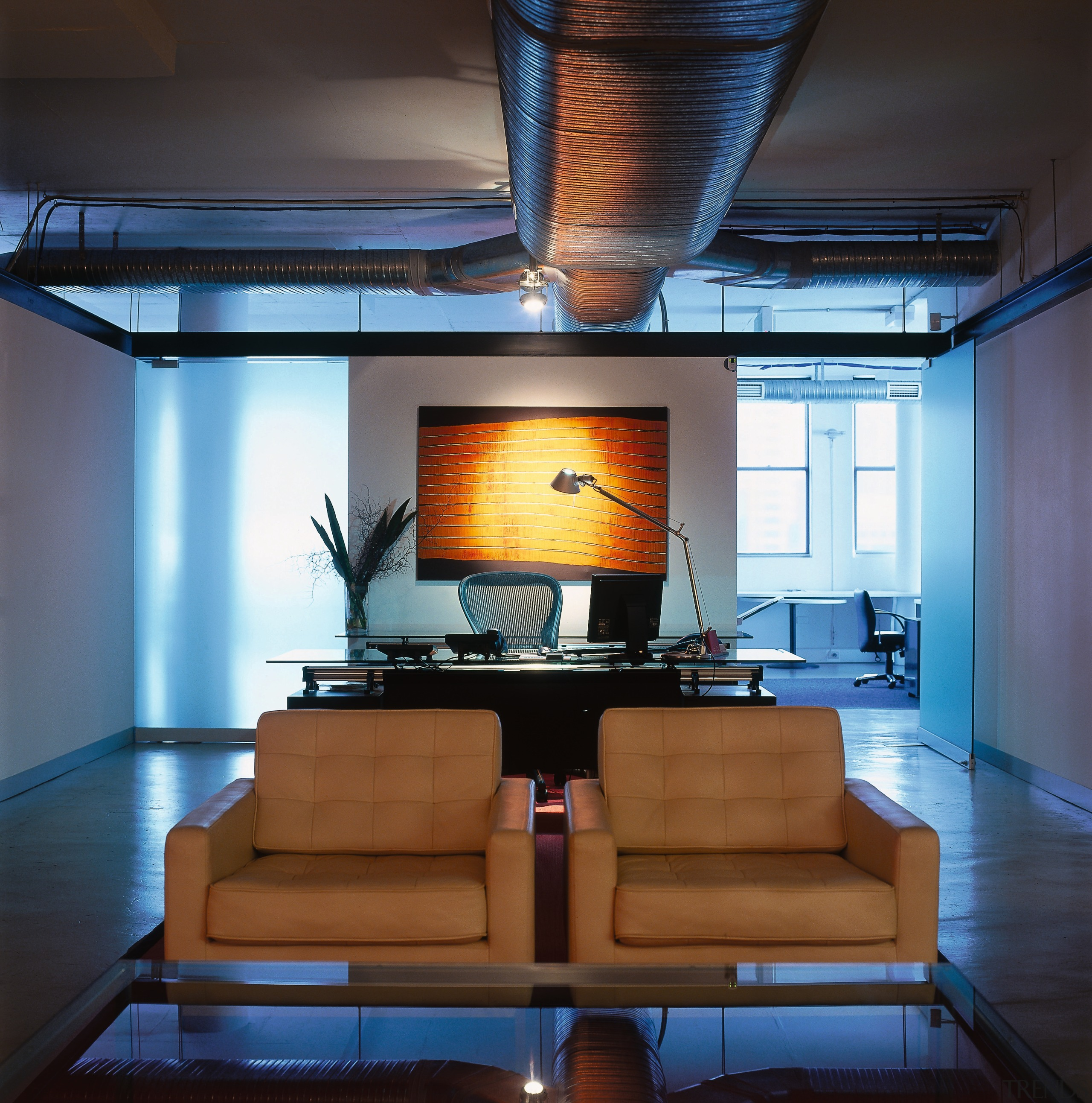 View of an office, two coffee coloured seats, architecture, ceiling, furniture, house, interior design, living room, loft, table, black