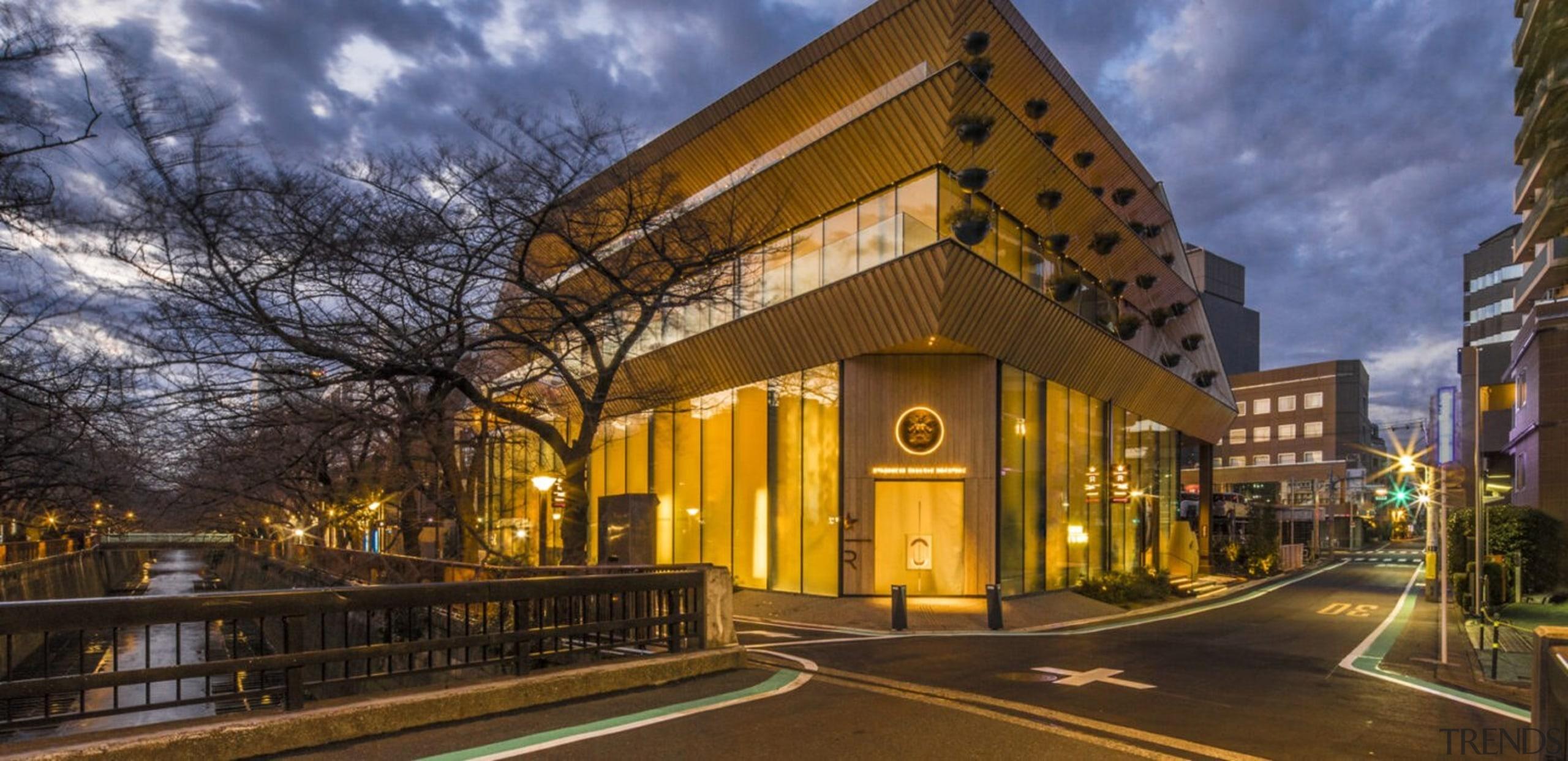 Tokyo Roastery Exterior Horiz 1 1440X700 - arch arch, architecture, building, commercial building, estate, facade, home, house, metropolitan area, mixed-use, night, property, real estate, residential area, brown