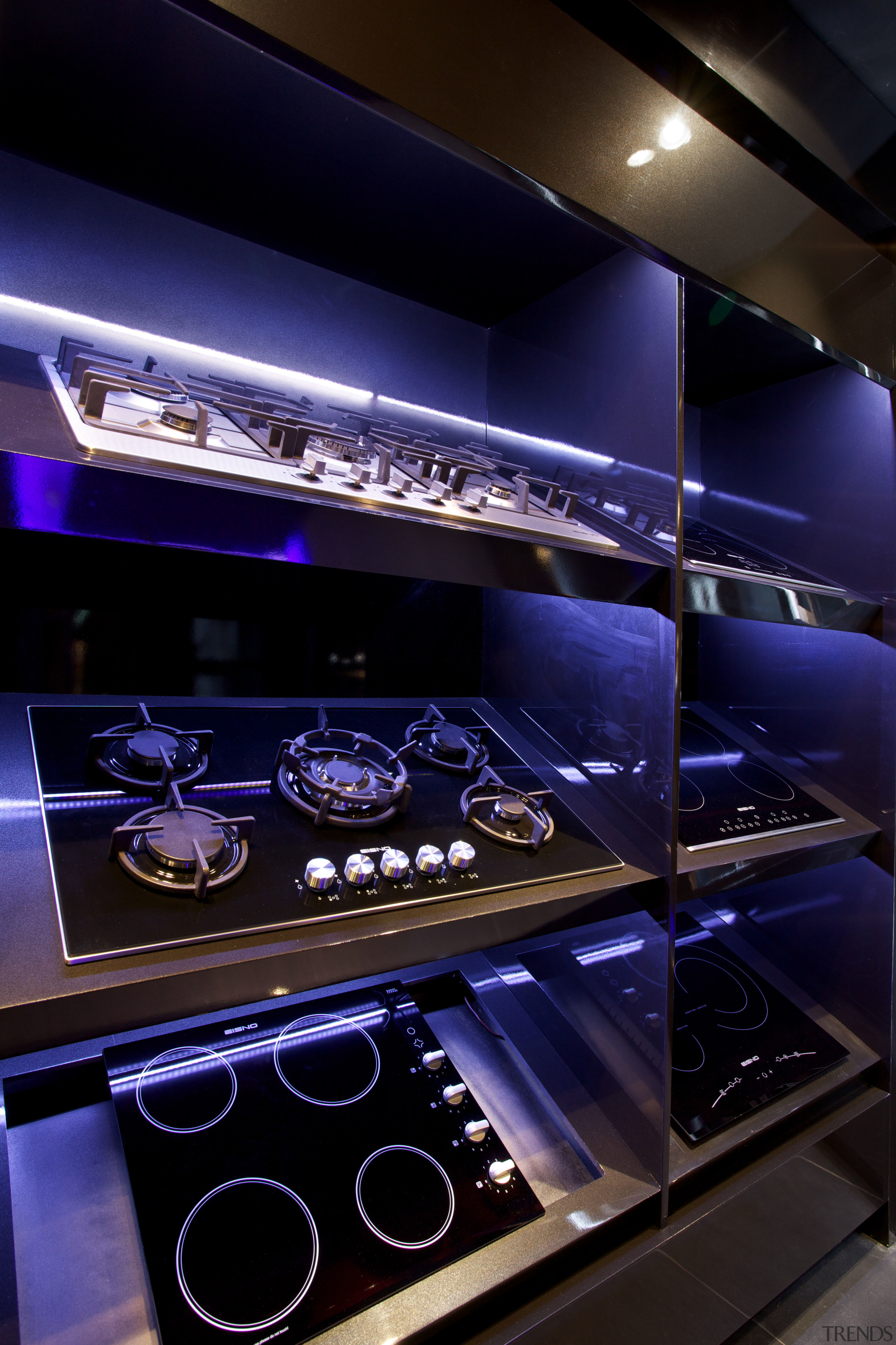 While the show space is modest the appliance black, blue