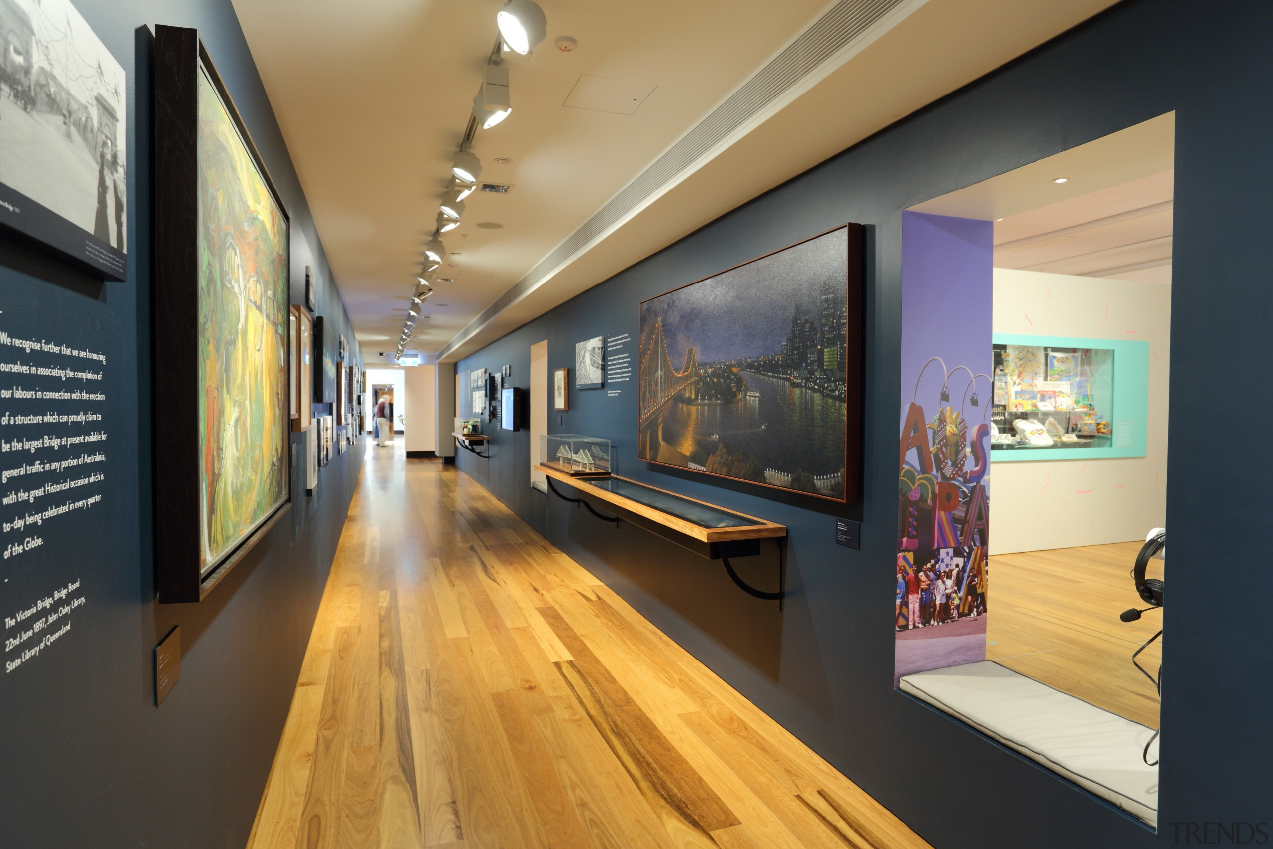 One of the galleries in the new Museum art gallery, exhibition, interior design, museum, tourist attraction, black, orange