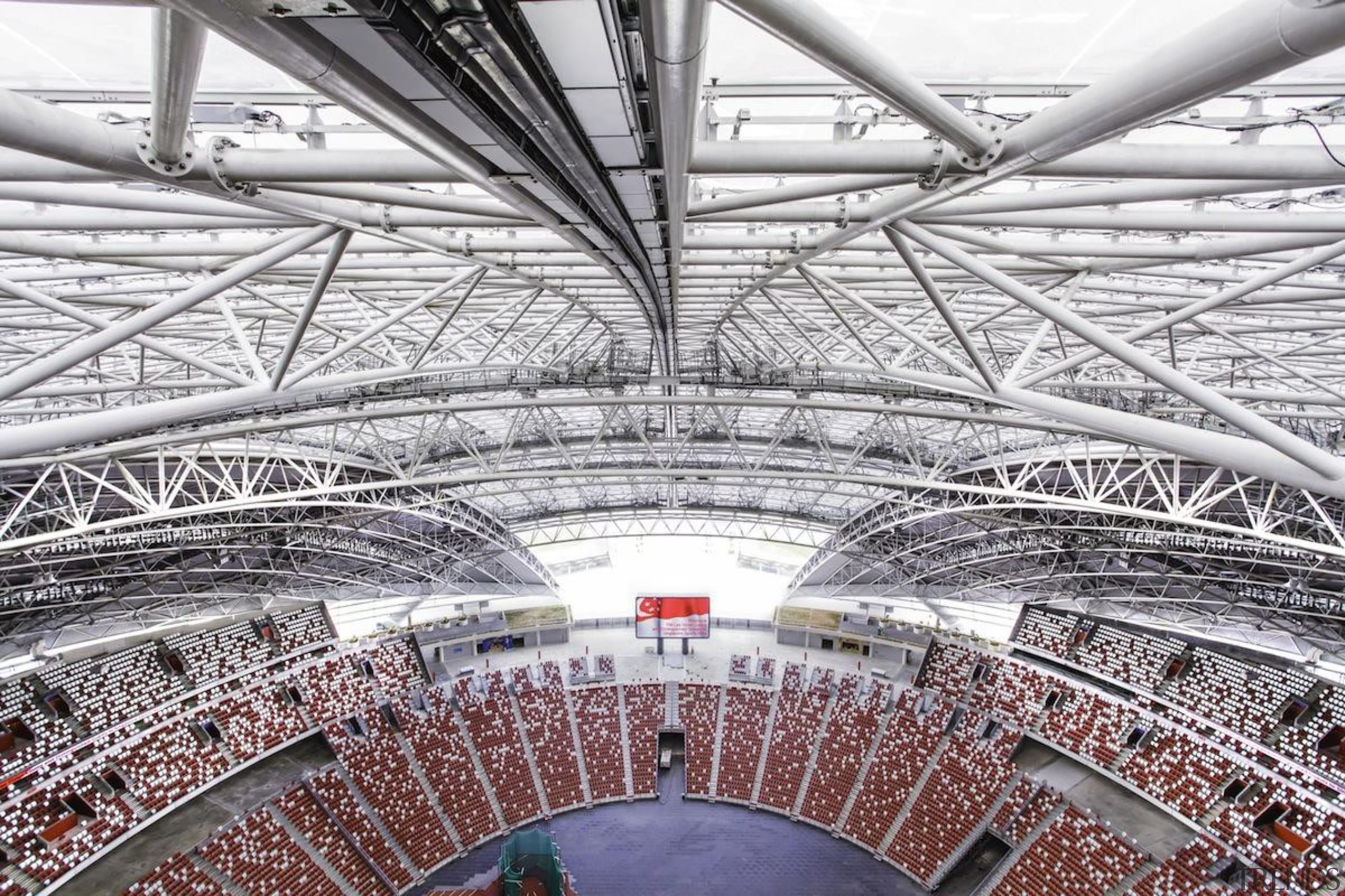 Singapore-based engineering company MHE-Demag provided the roof moving architecture, arena, building, daylighting, line, sport venue, stadium, structure, urban area, white, gray