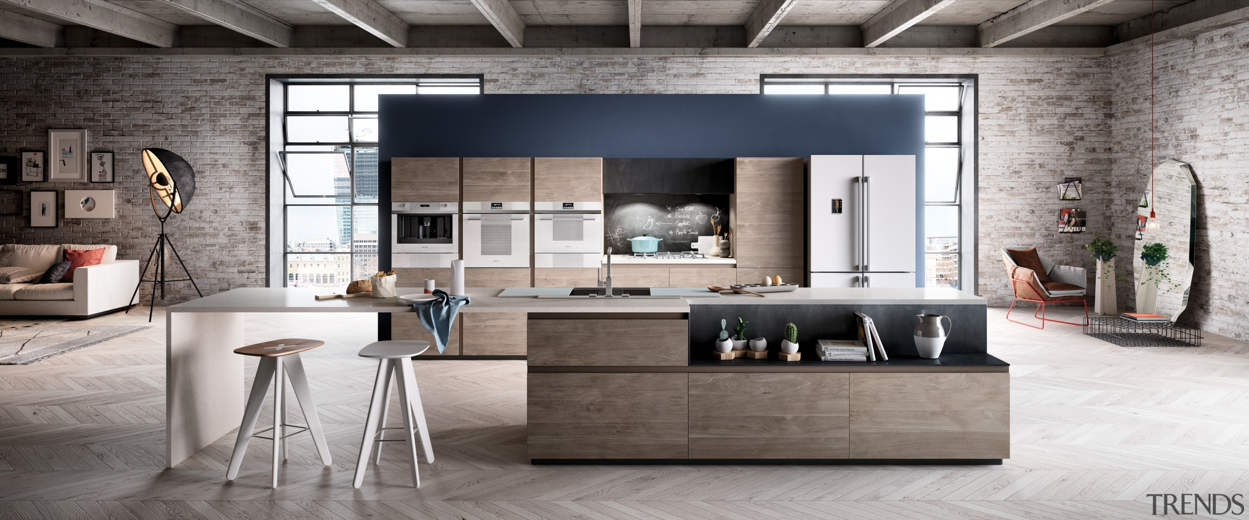 The Linea range features stand-out handles, transparent control furniture, interior design, living room, loft, product design, table, gray