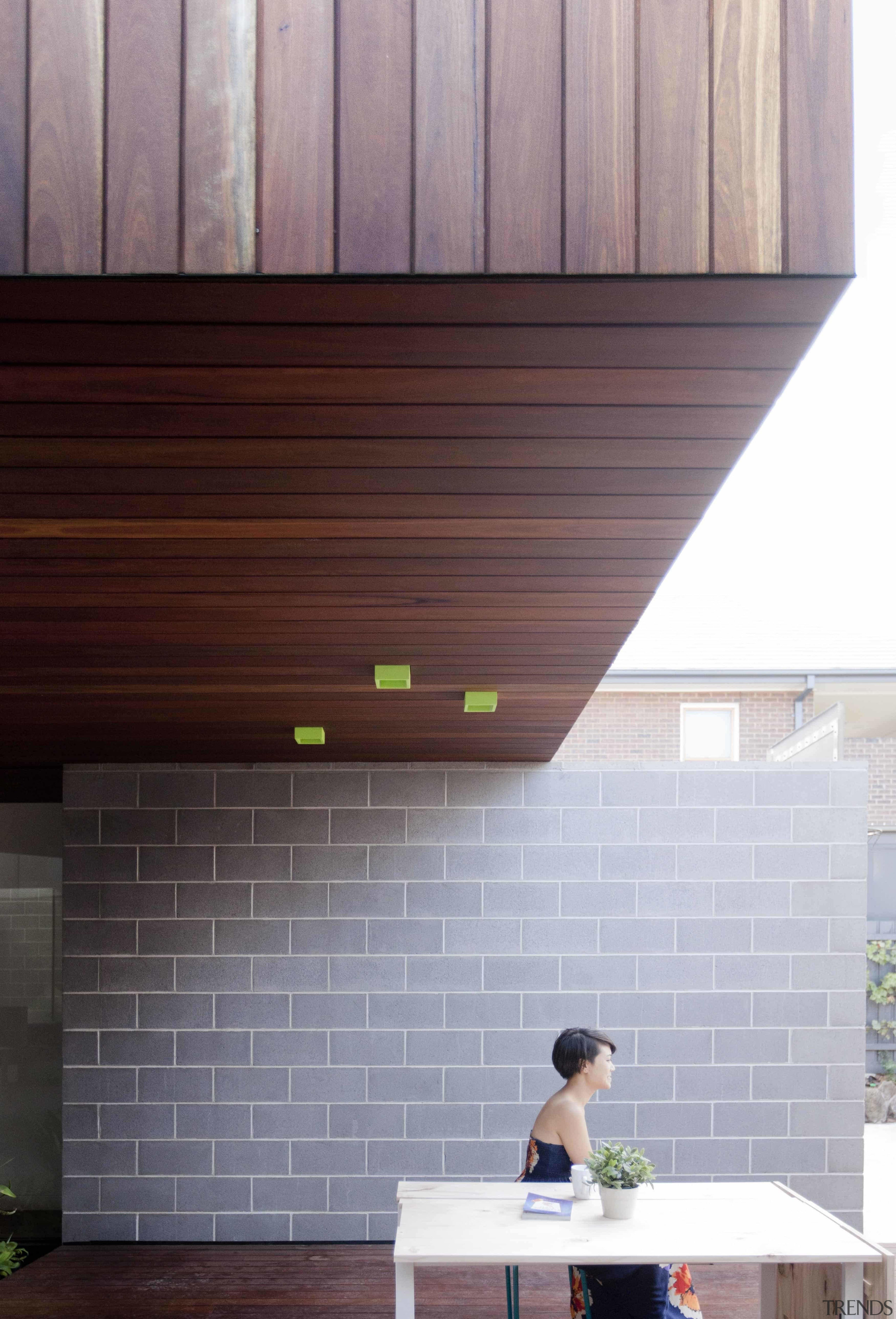 Sitting beneath the structure - Sitting beneath the architecture, ceiling, daylighting, facade, floor, hardwood, house, siding, wall, wood, wood flooring, wood stain, gray