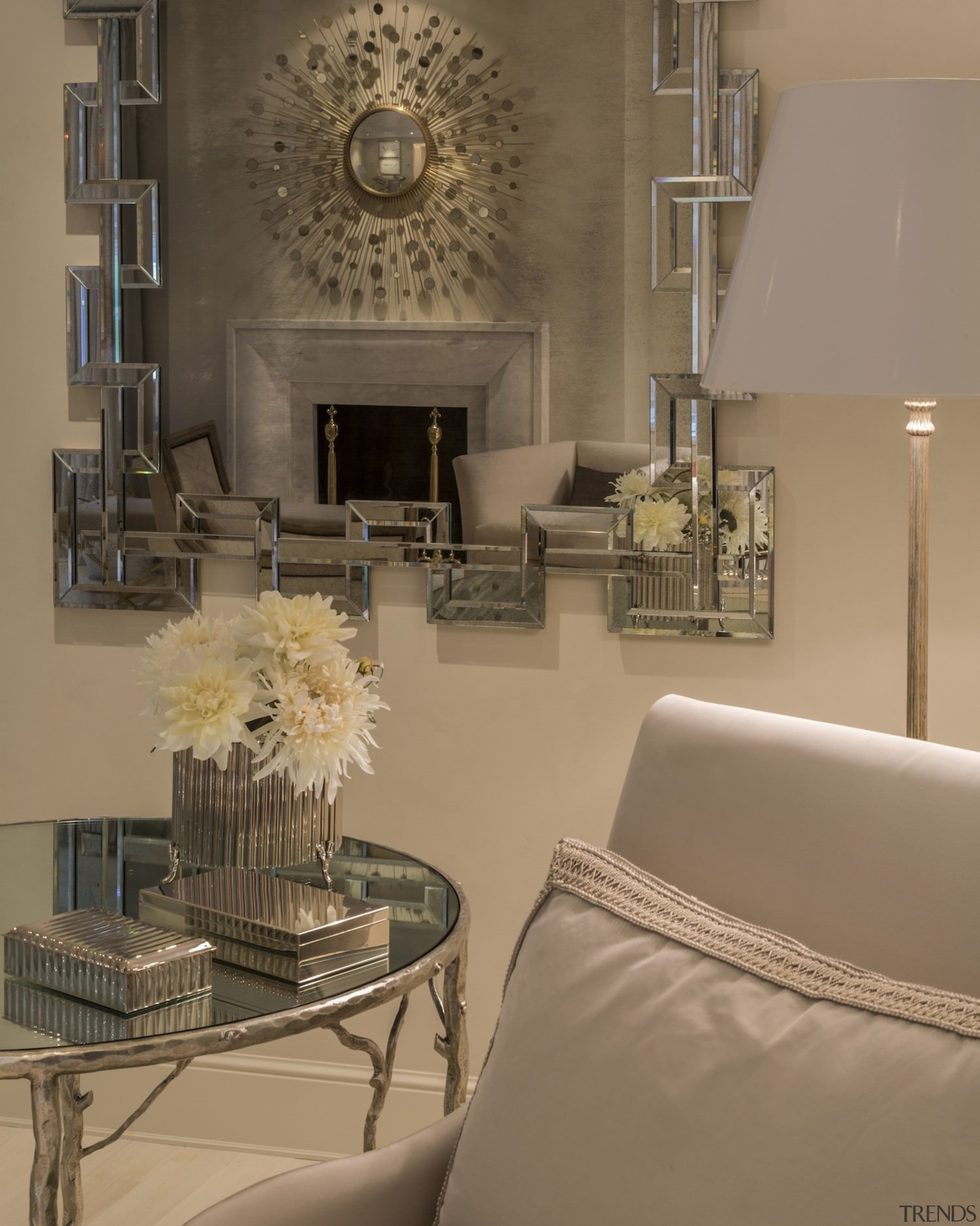 The fireplace through the mirror - The fireplace ceiling, floor, furniture, home, interior design, living room, room, table, wall, brown