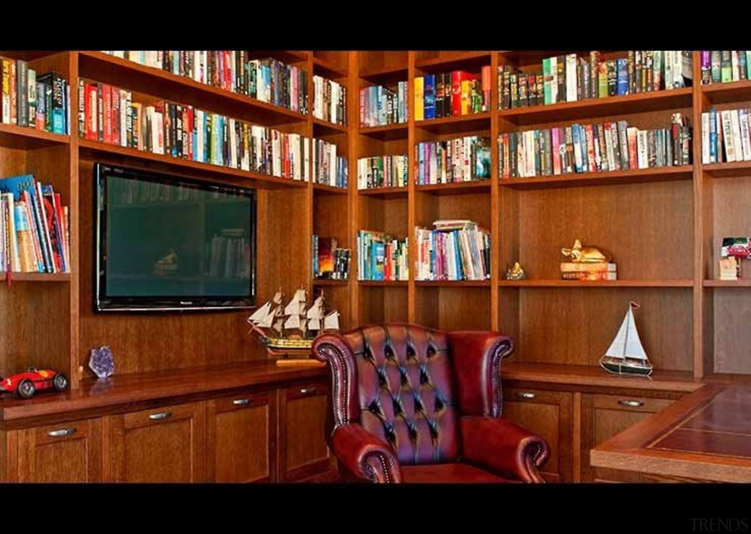 Classic Feel Library - bookcase   furniture   bookcase, furniture, interior design, library, public library, shelving, brown