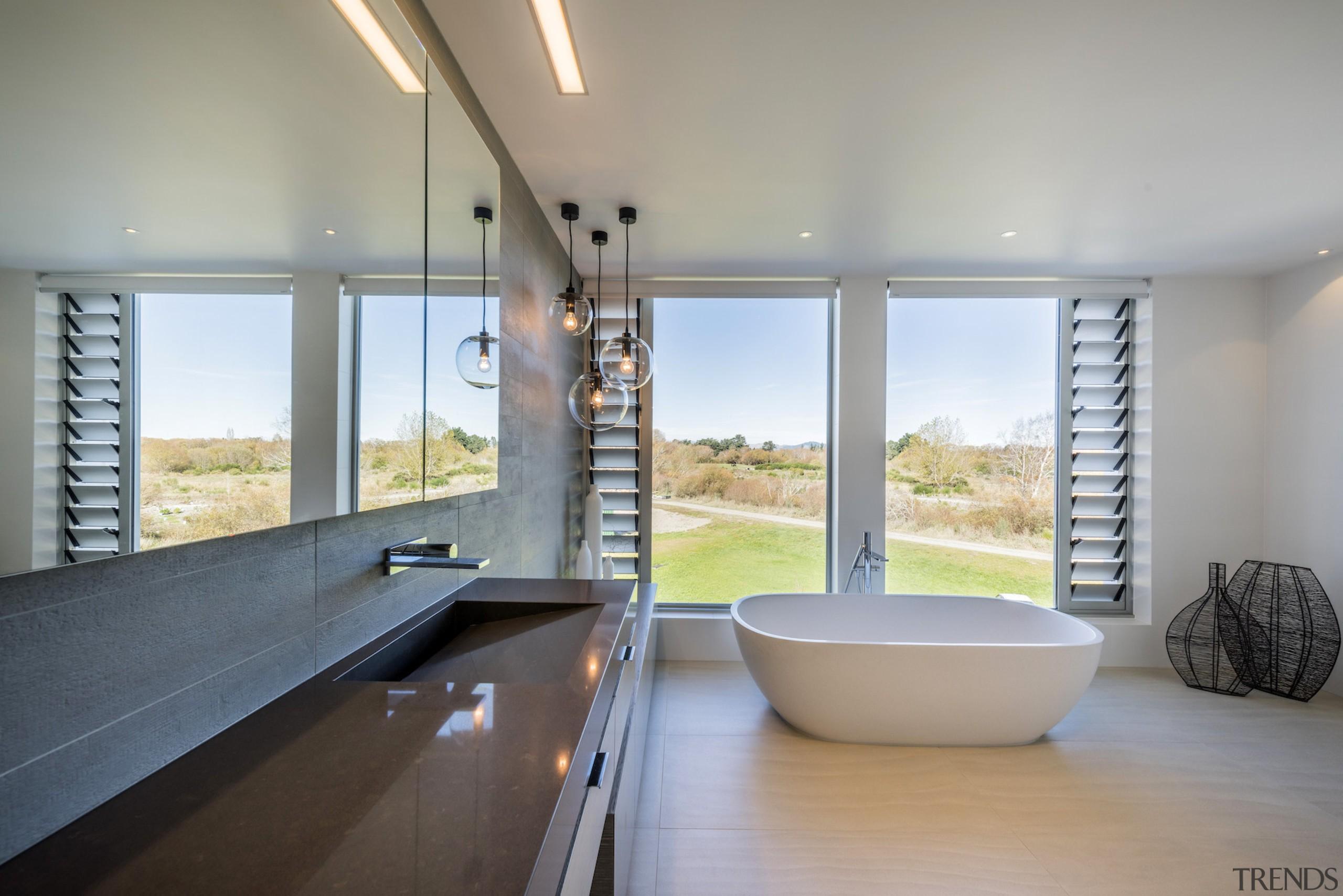Modern, restrained master ensuite by designer Davinia Sutton architecture, bathroom, daylighting, estate, house, interior design, real estate, room, window, gray