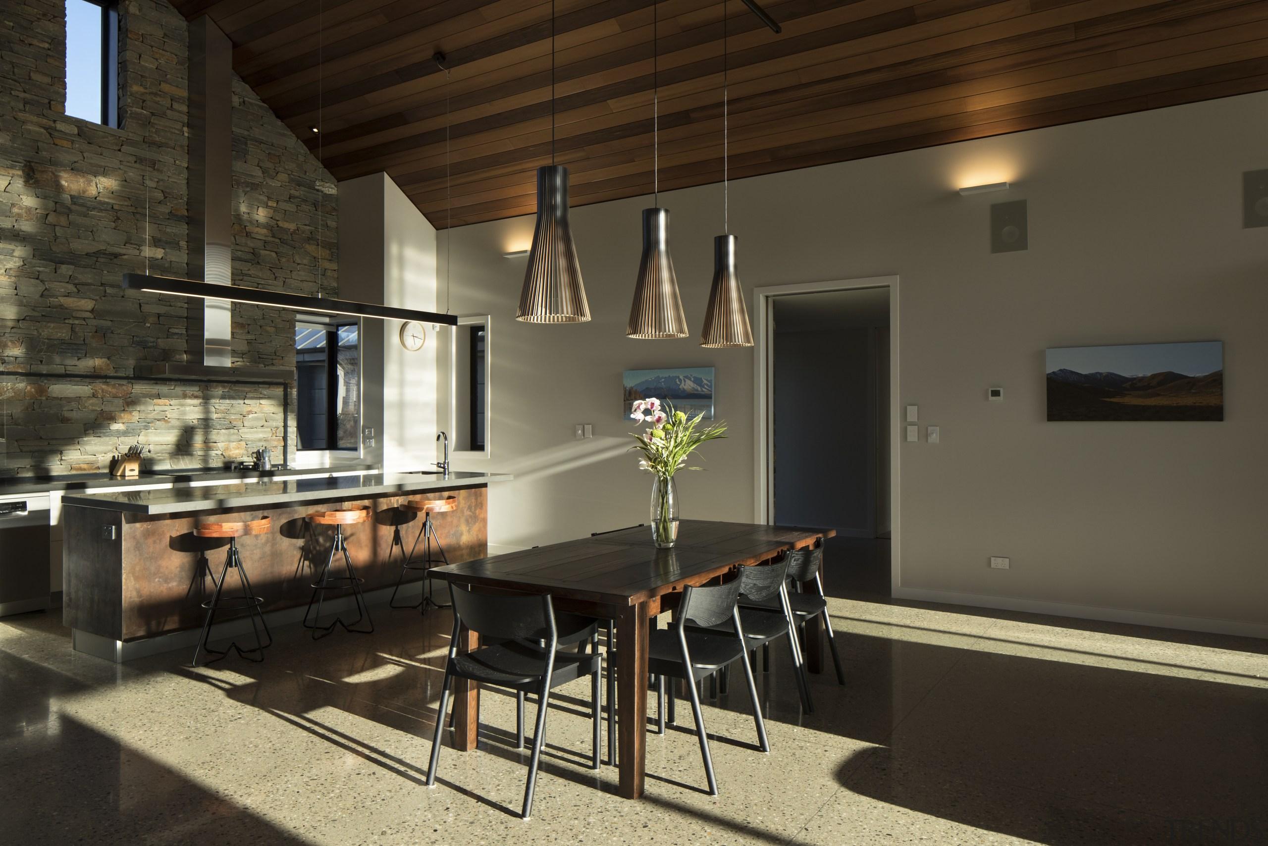 This kitchen – in a new home by architecture, floor, furniture, home, house, interior design, Kitchen, Schist Wall, plashback, Condon Scott Architects