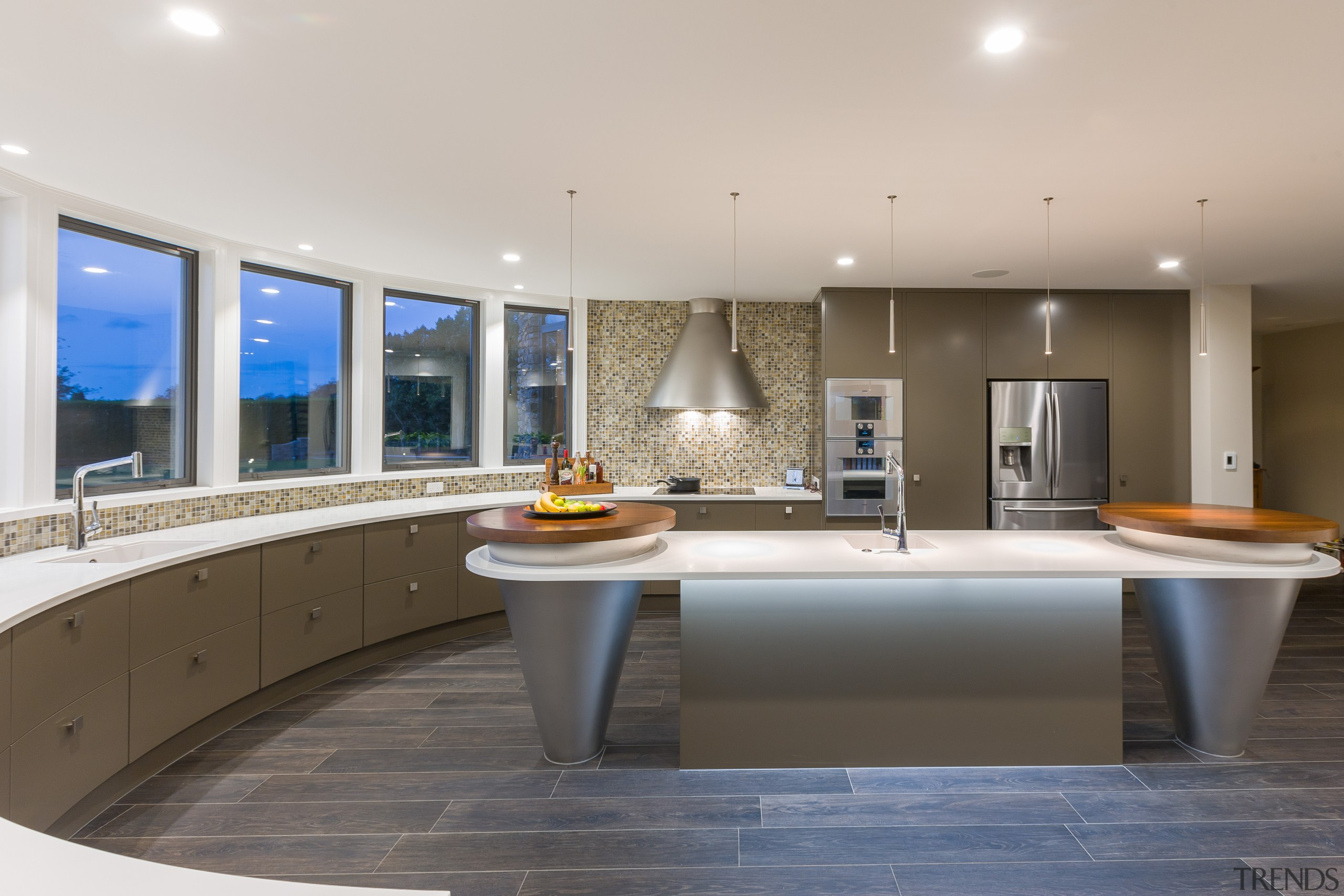 This islands conical elements echo the form of countertop, estate, interior design, kitchen, real estate, gray
