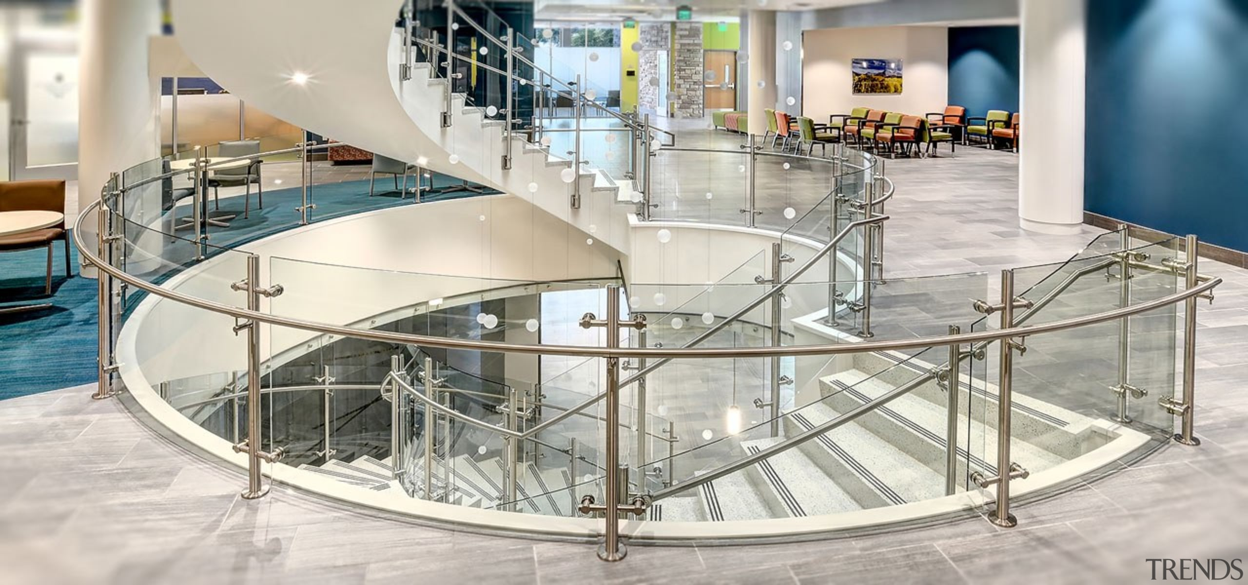 Colorado State University6 - architecture | building | architecture, building, glass, handrail, interior design, shopping mall, stairs, white
