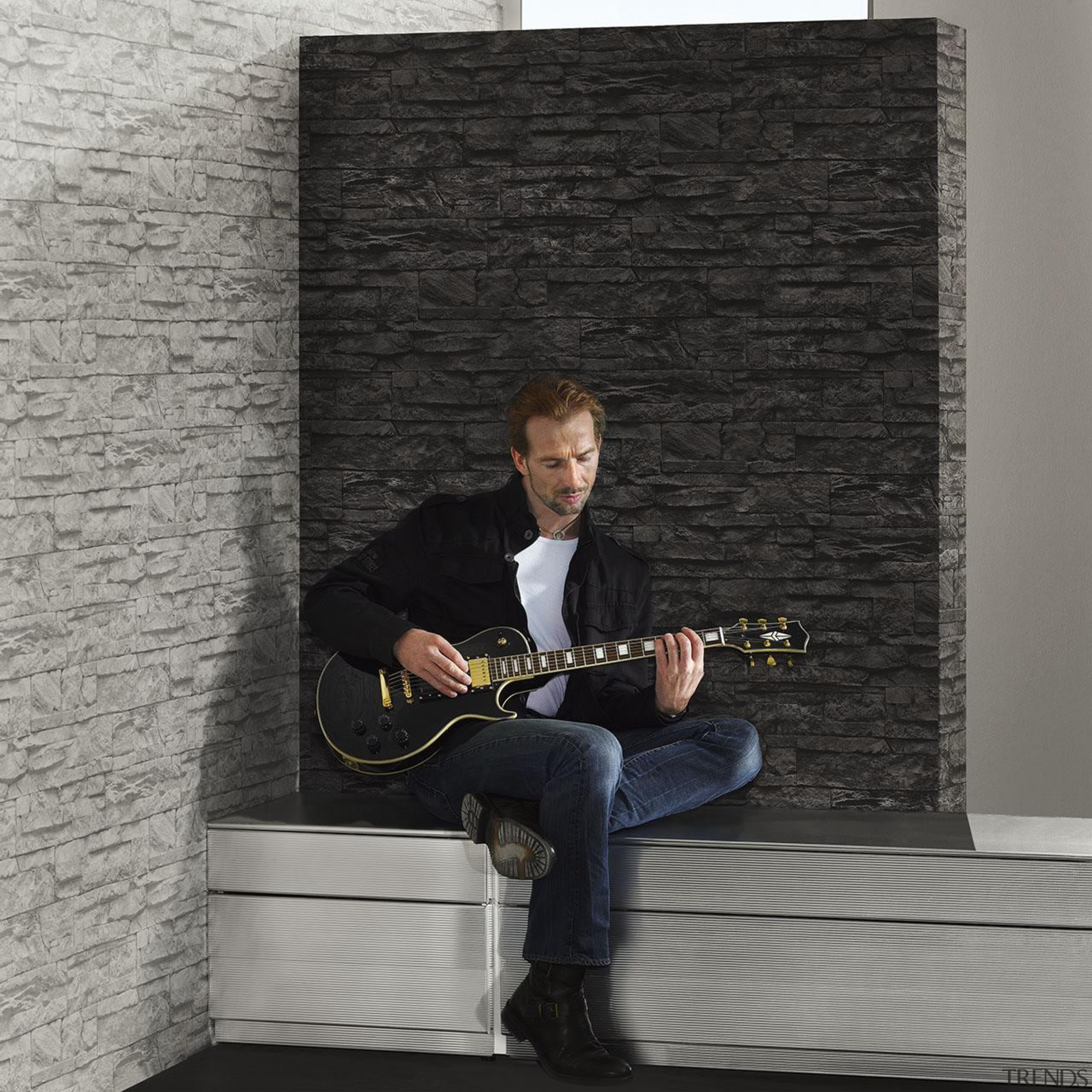 Modern Style Range - furniture | guitar | furniture, guitar, music, musical instrument, musical instrument accessory, musician, plucked string instruments, sitting, table, wall, gray, black