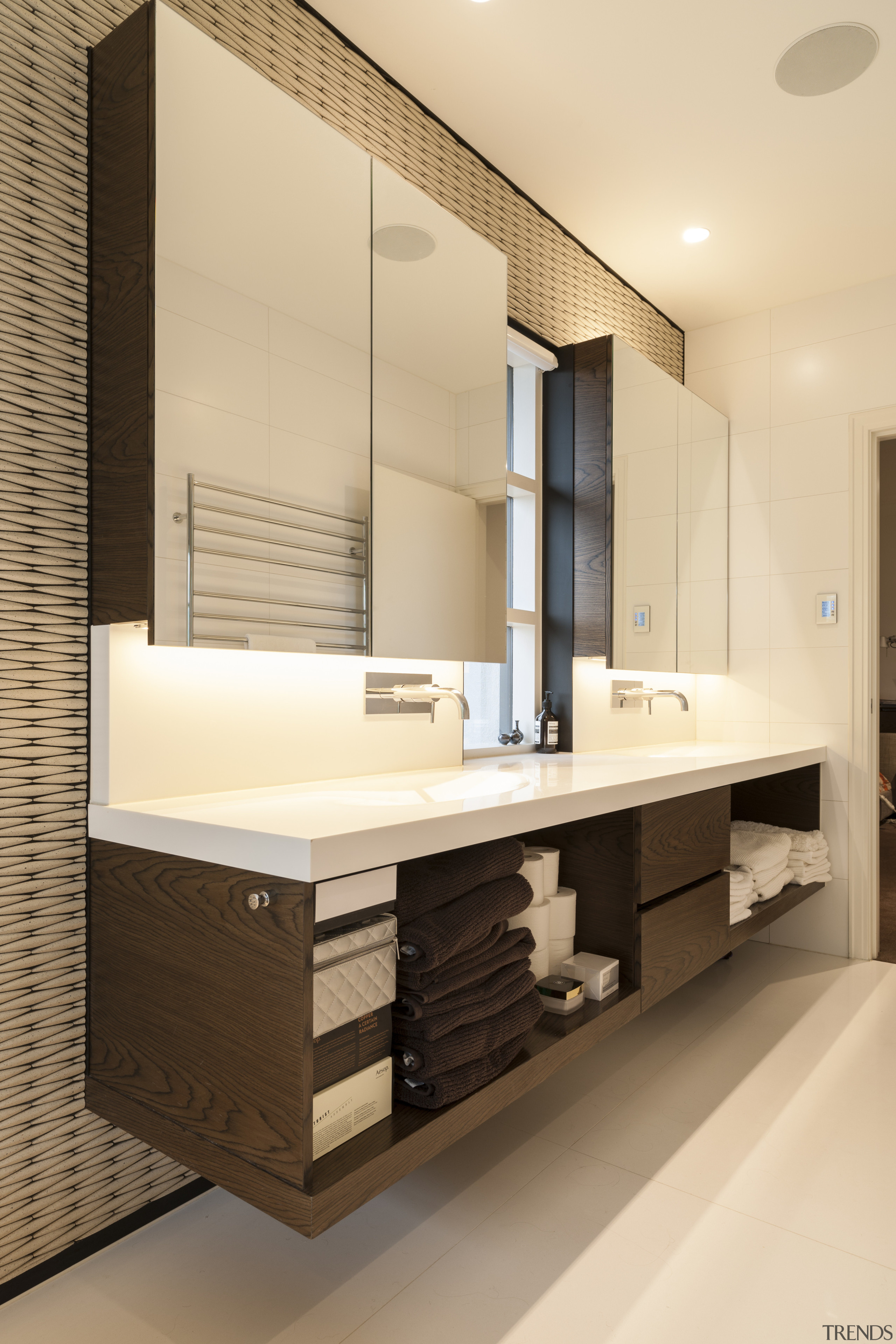 Not all neutrals are created equal  this bathroom, bathroom accessory, bathroom cabinet, cabinetry, interior design, product design, room, sink, orange, brown