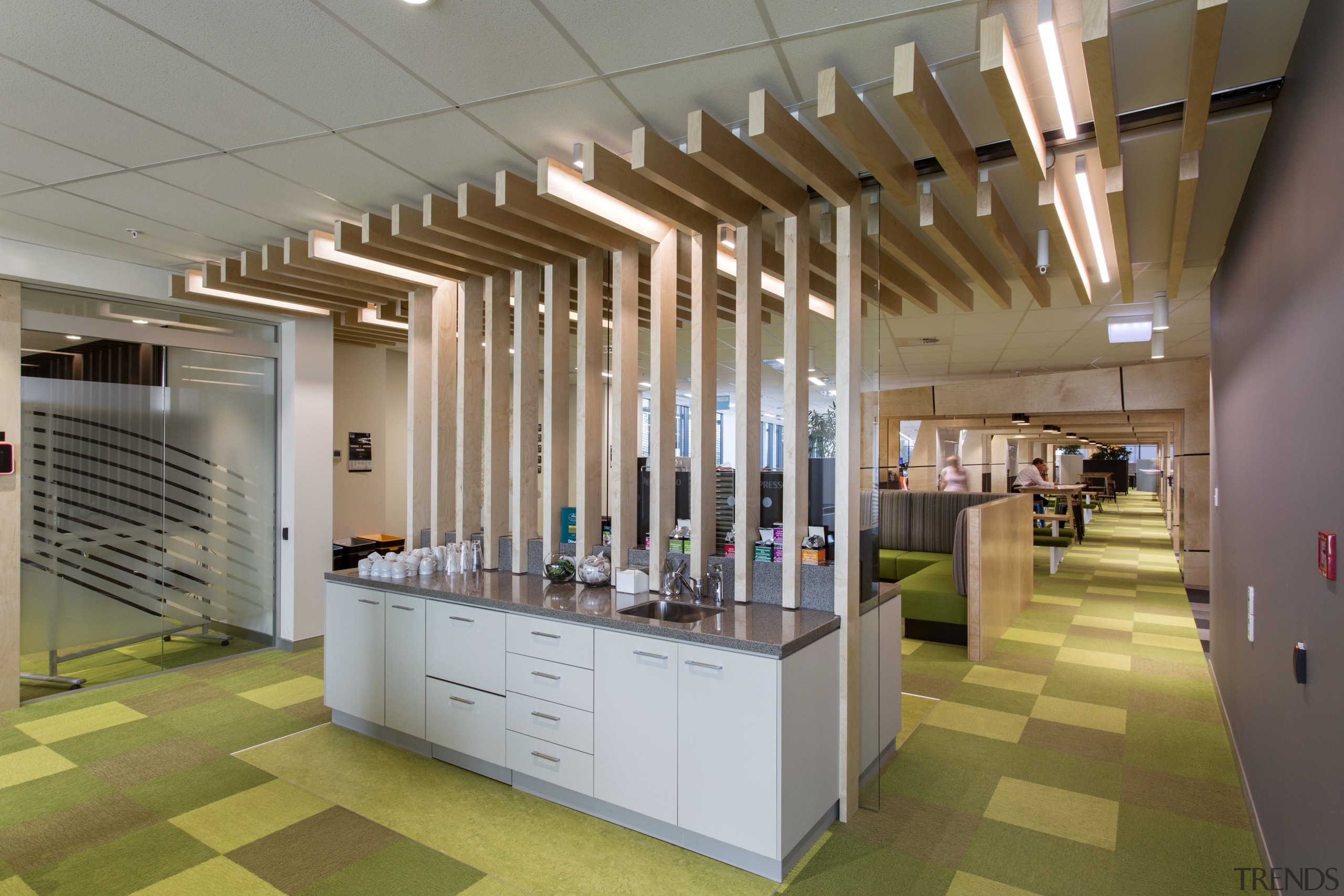 As part of the interior fit-out of the ceiling, daylighting, institution, interior design, lobby, gray, brown