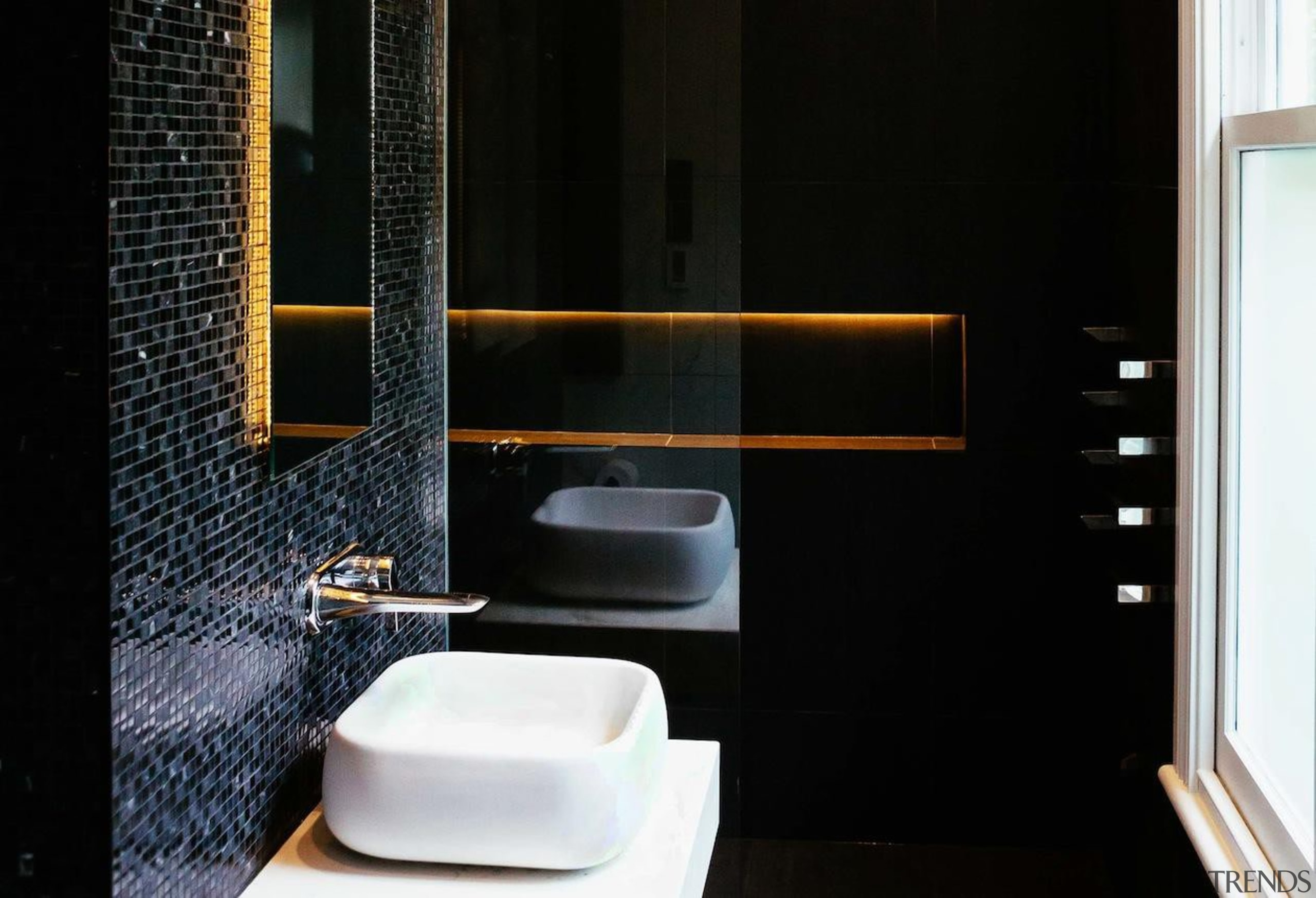 Studio 106 – Highly Commended - 2015 Trends bathroom, interior design, plumbing fixture, room, sink, black