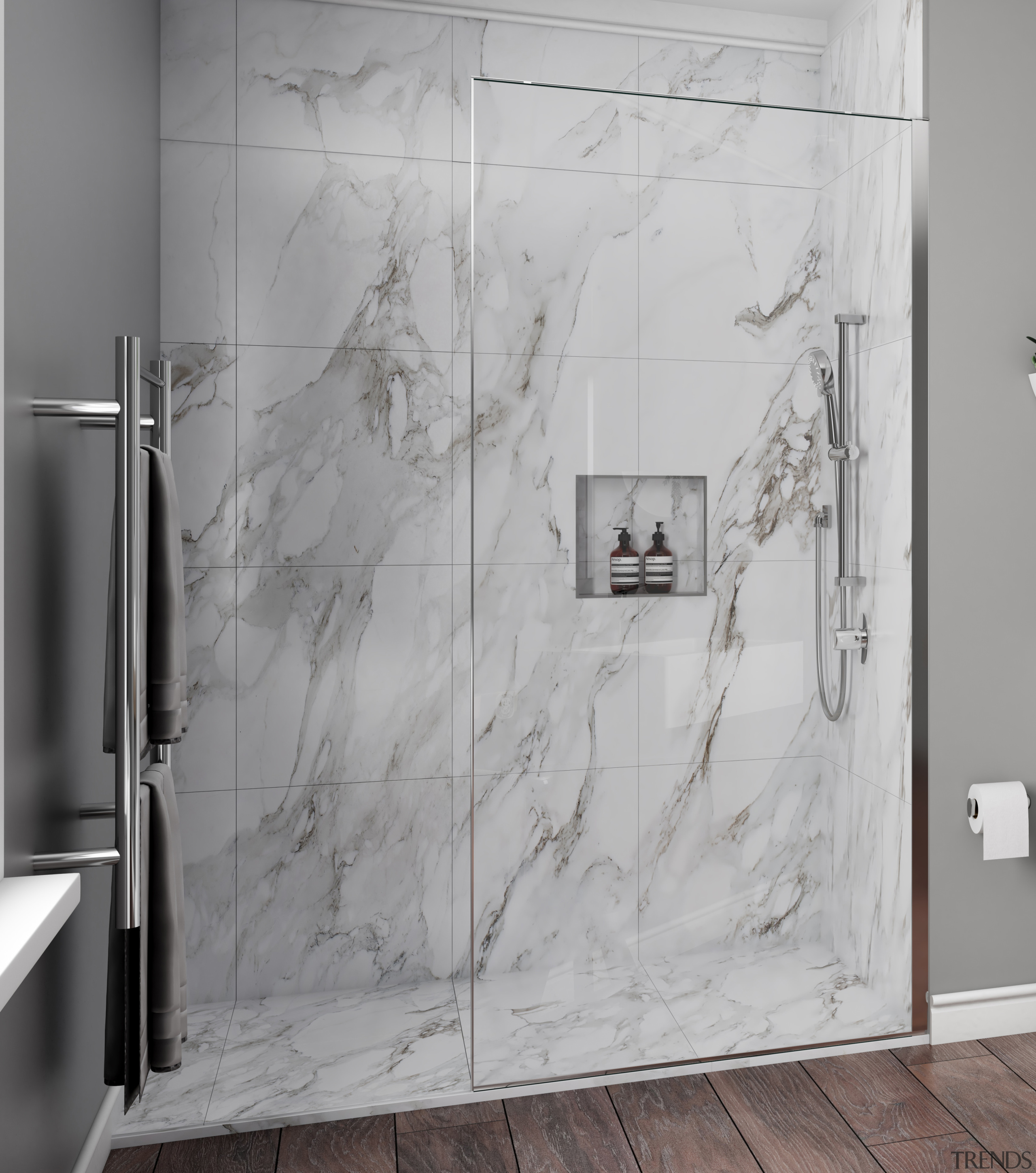 • 10 year warranty• Modern square on round bathroom, black and white, floor, flooring, interior design, plumbing fixture, room, shower, tile, wall, gray