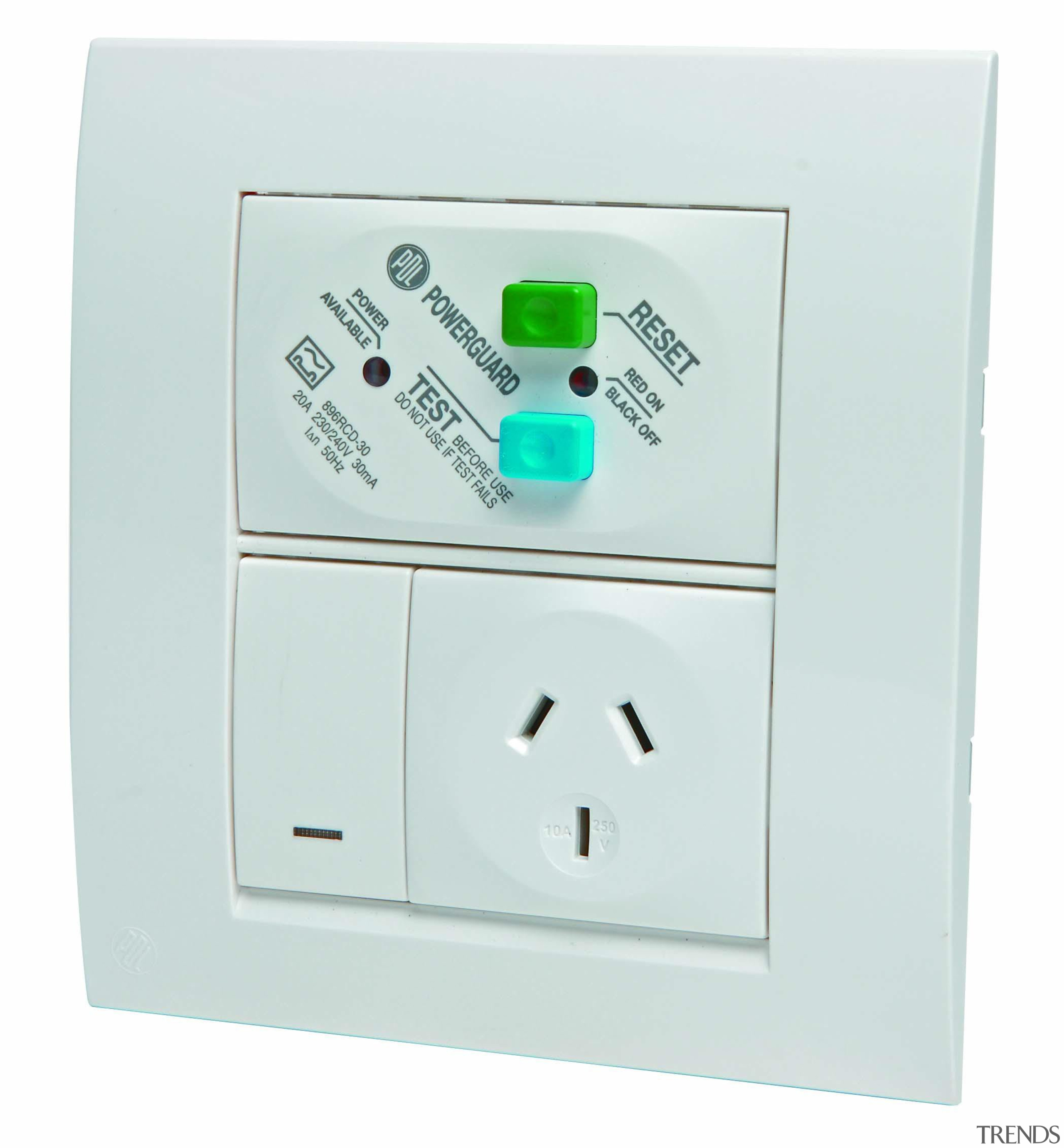 Modena single socket with RCD protection - White ac power plugs and socket outlets, switch, technology, white