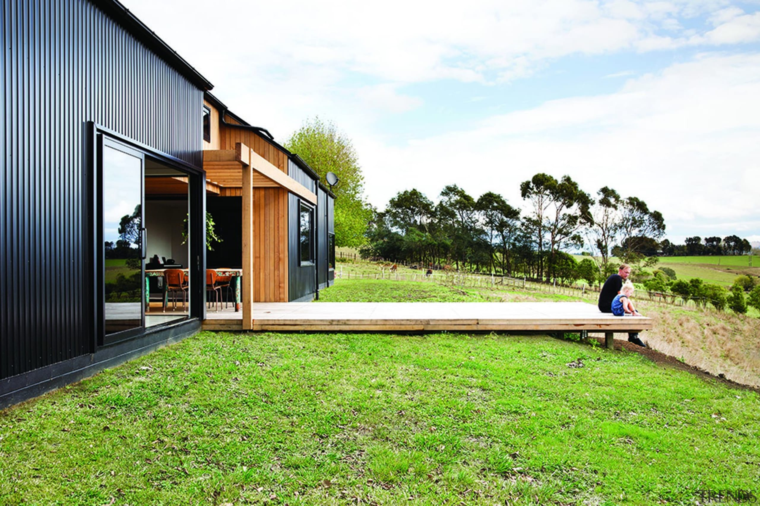 Black Barn - Dimondclad Rib 50 in Black architecture, cottage, facade, grass, home, house, lawn, leisure, real estate, residential area, yard, white, green