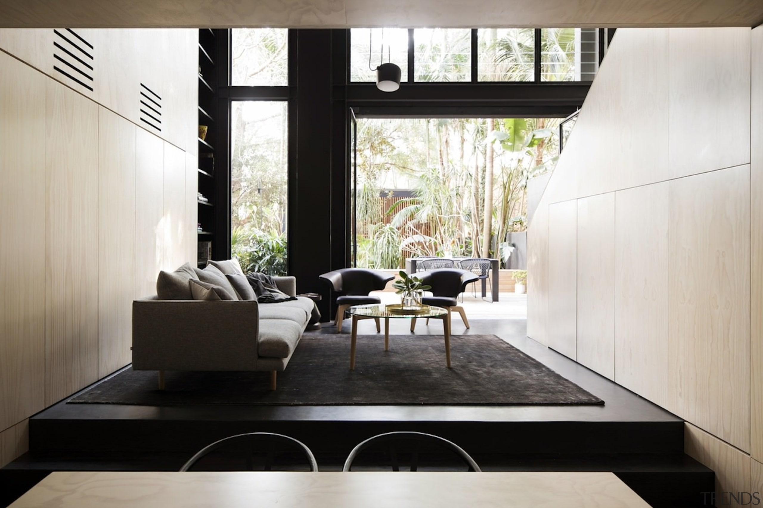 Architect: Architect PrineasPhotography by Chris Warnes architecture, ceiling, floor, flooring, furniture, house, interior design, living room, table, white, black