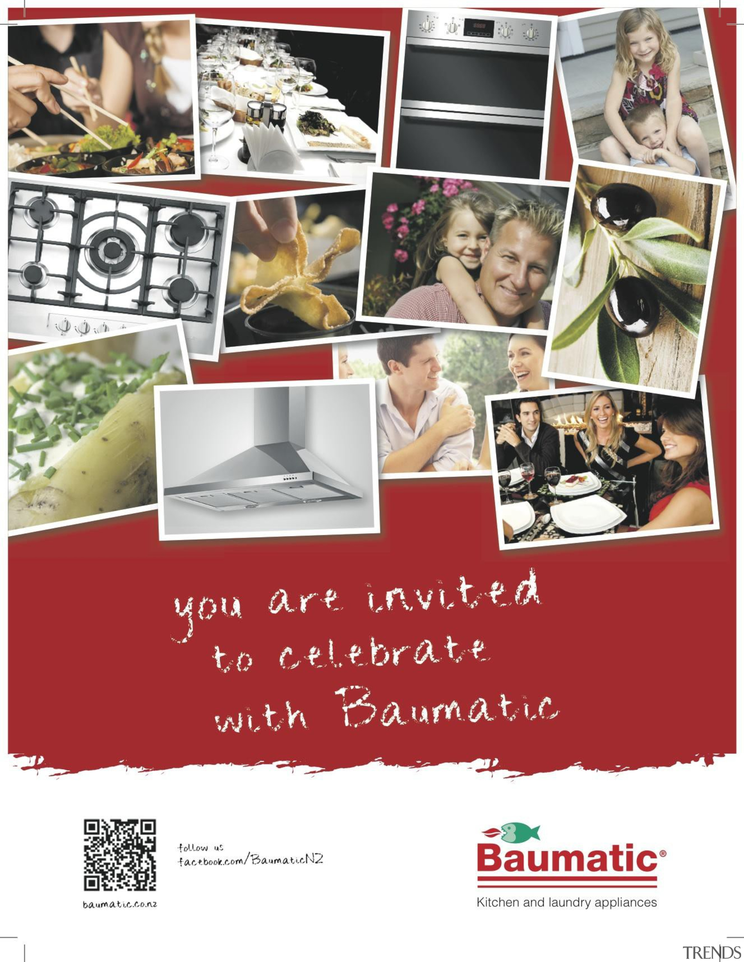 T2 Agency promoted the Baumatic brand of appliances advertising, collage, font, text, white, red