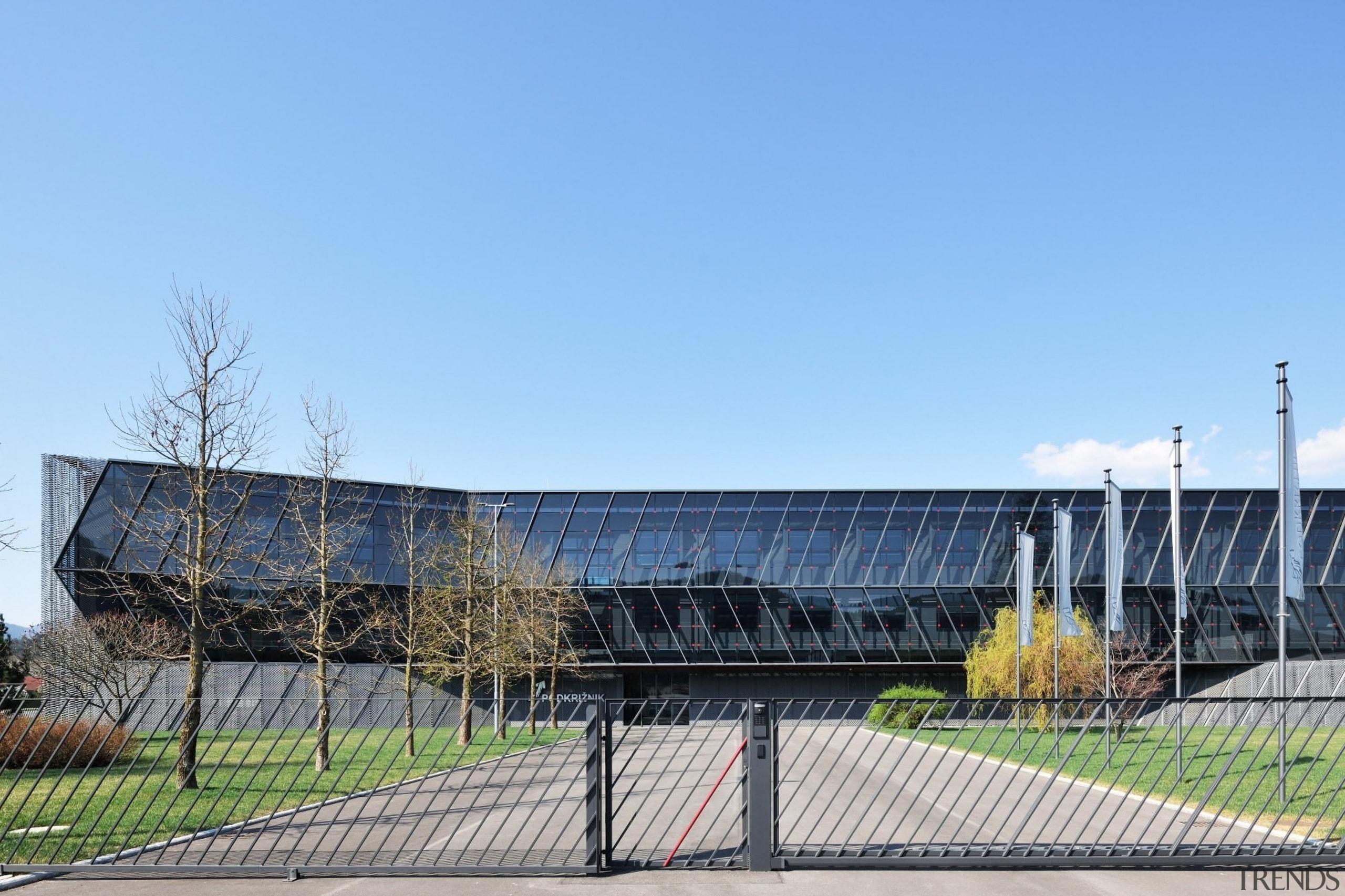 Architect: SuperformPhotography by Miran Kambič architecture, building, corporate headquarters, facade, sky, sport venue, stadium, structure, teal