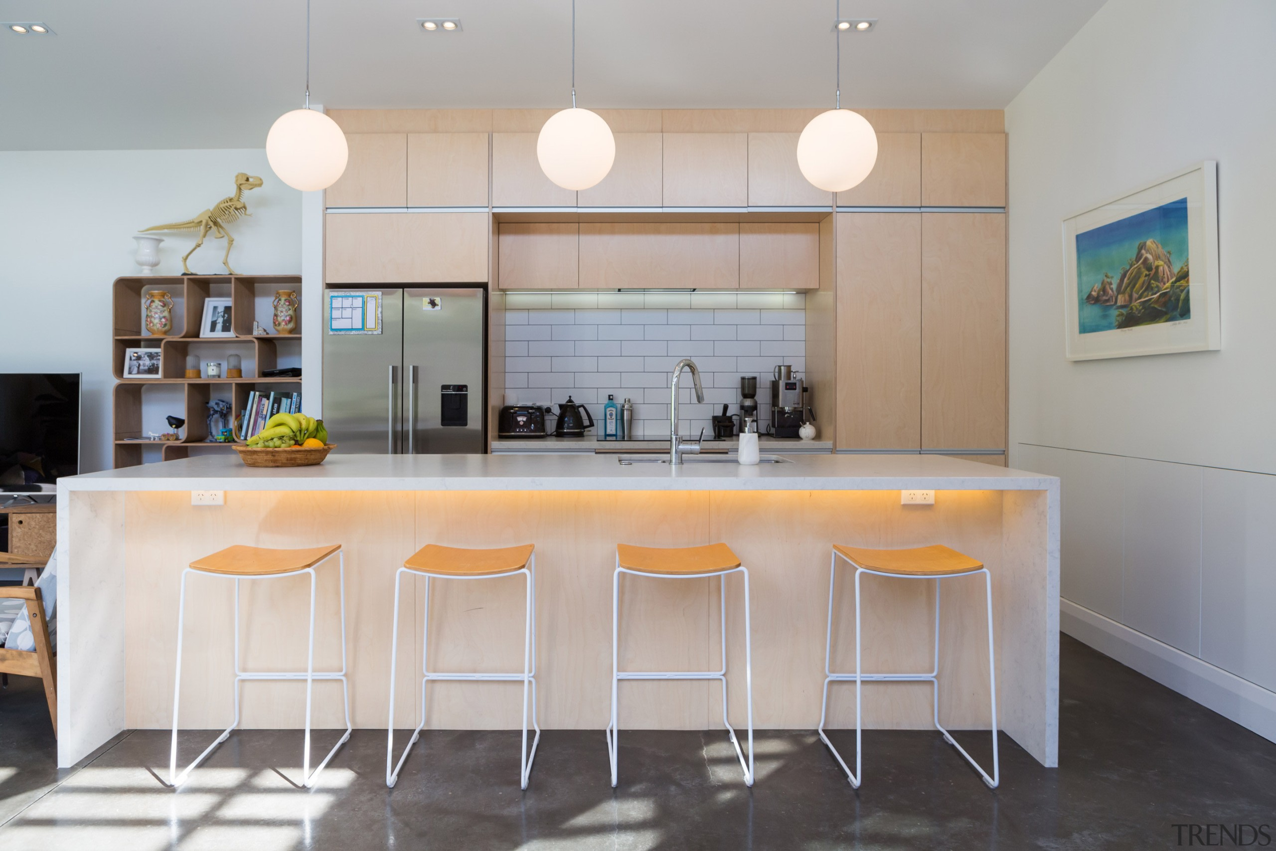 The material pallet of the kitchen was kept architecture, countertop, cuisine classique, home, interior design, kitchen, real estate, room, table, gray
