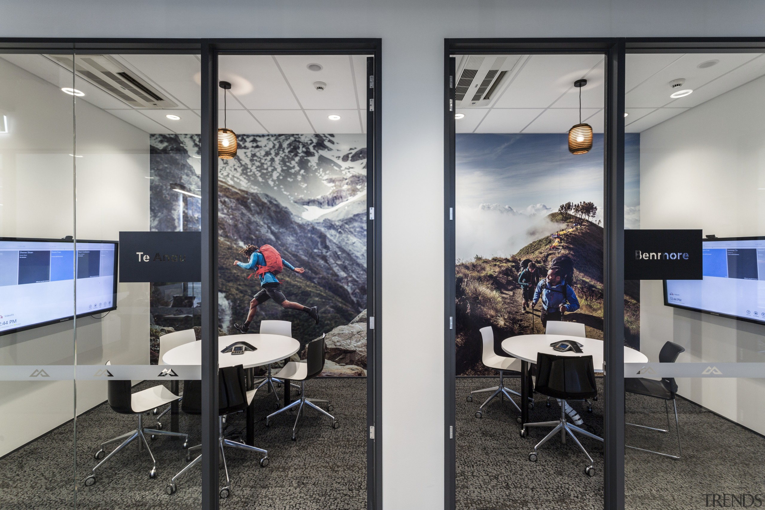 Action photo murals remind staff at the new interior design, office, technology, gray, black