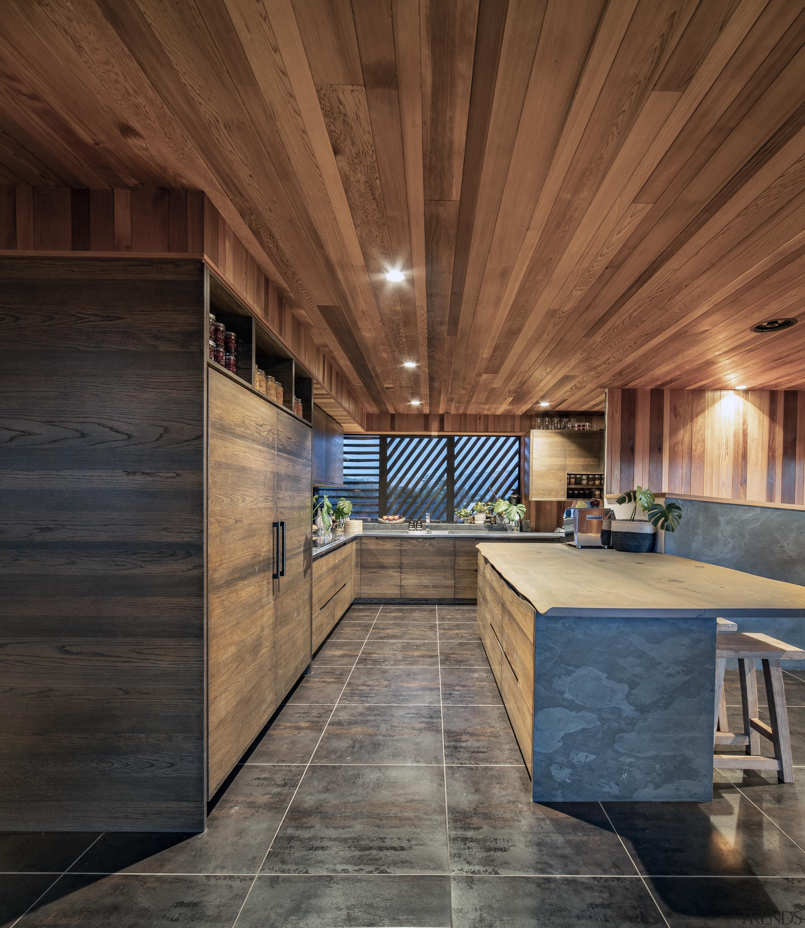 The warm look of wood ceilings and wood brown