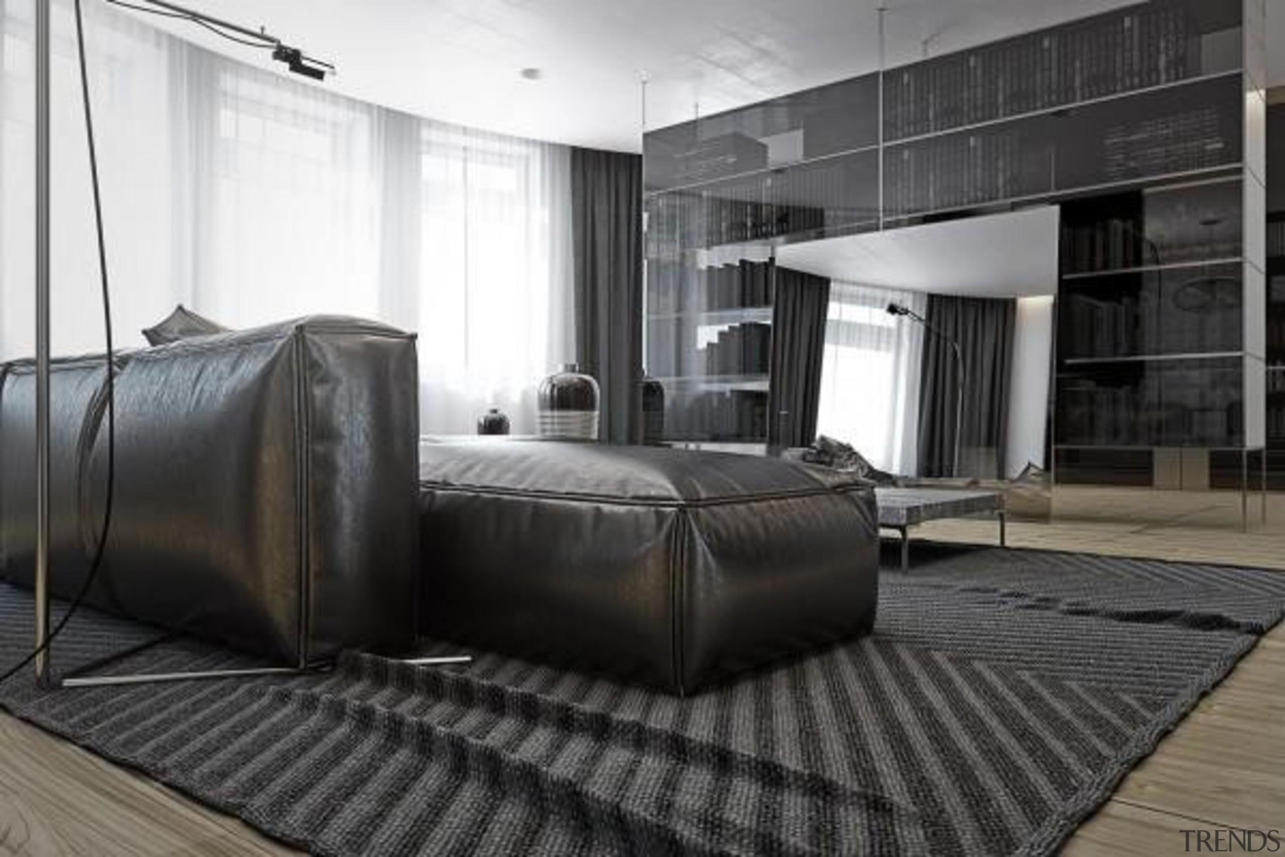 huge interior mirror - Masculine Apartments - floor floor, flooring, furniture, interior design, black