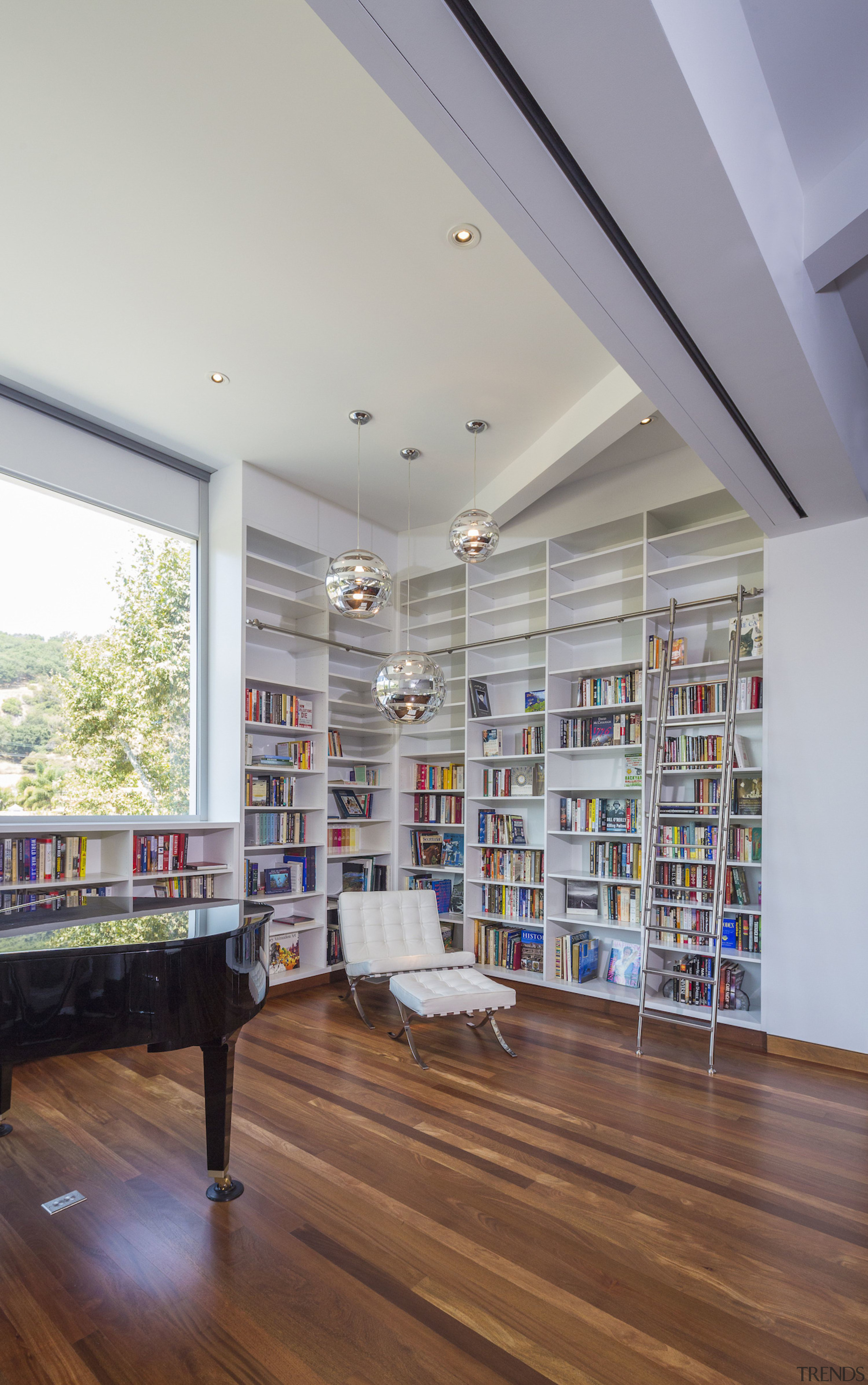 Anx View 21 - architecture | ceiling | architecture, ceiling, daylighting, floor, flooring, interior design, library, loft, public library, shelving, gray