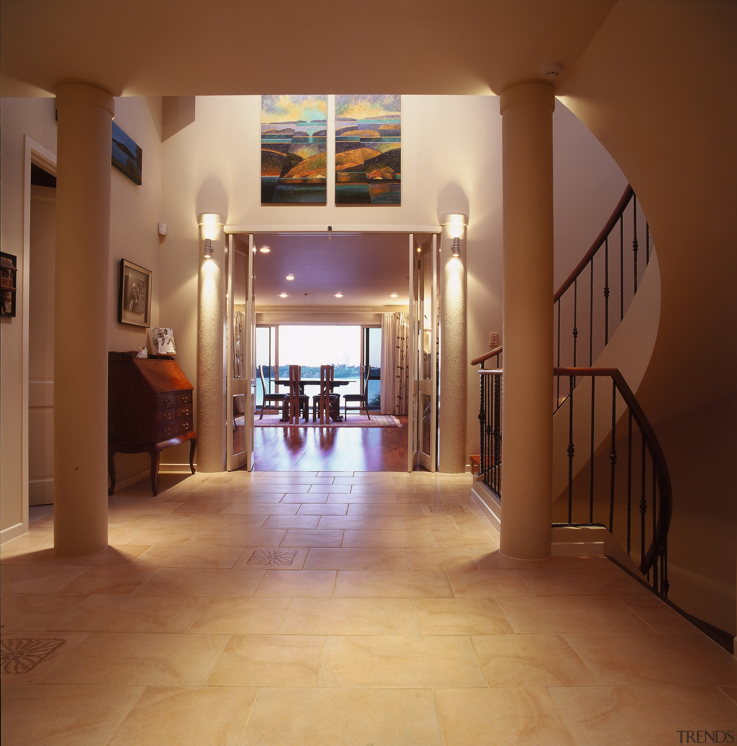 Grand entrance to this home with floor tiles, apartment, ceiling, estate, floor, flooring, hall, hardwood, interior design, lobby, property, real estate, wood flooring, brown