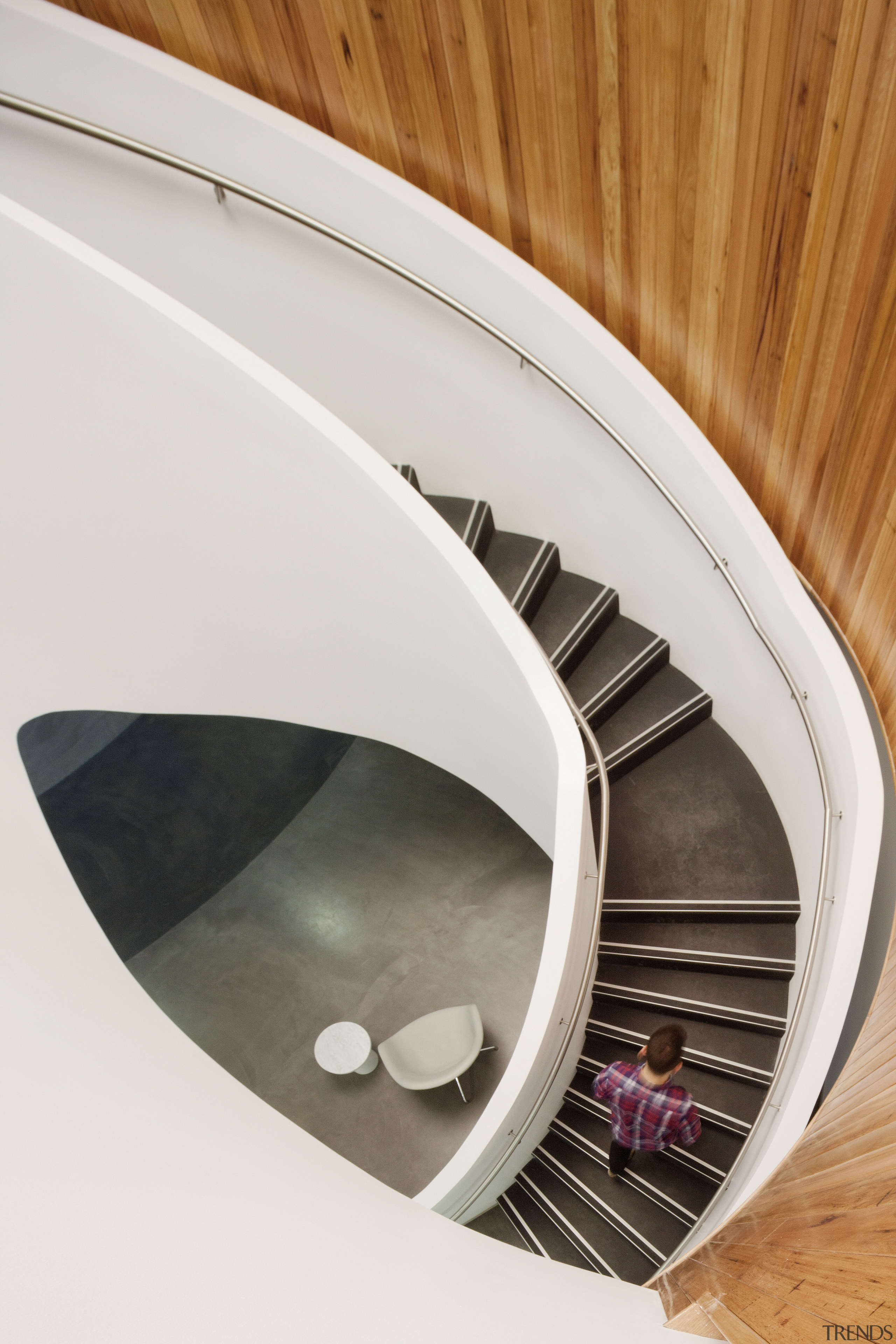The spiral staircase in the new Brookfield Multiplex product design, white