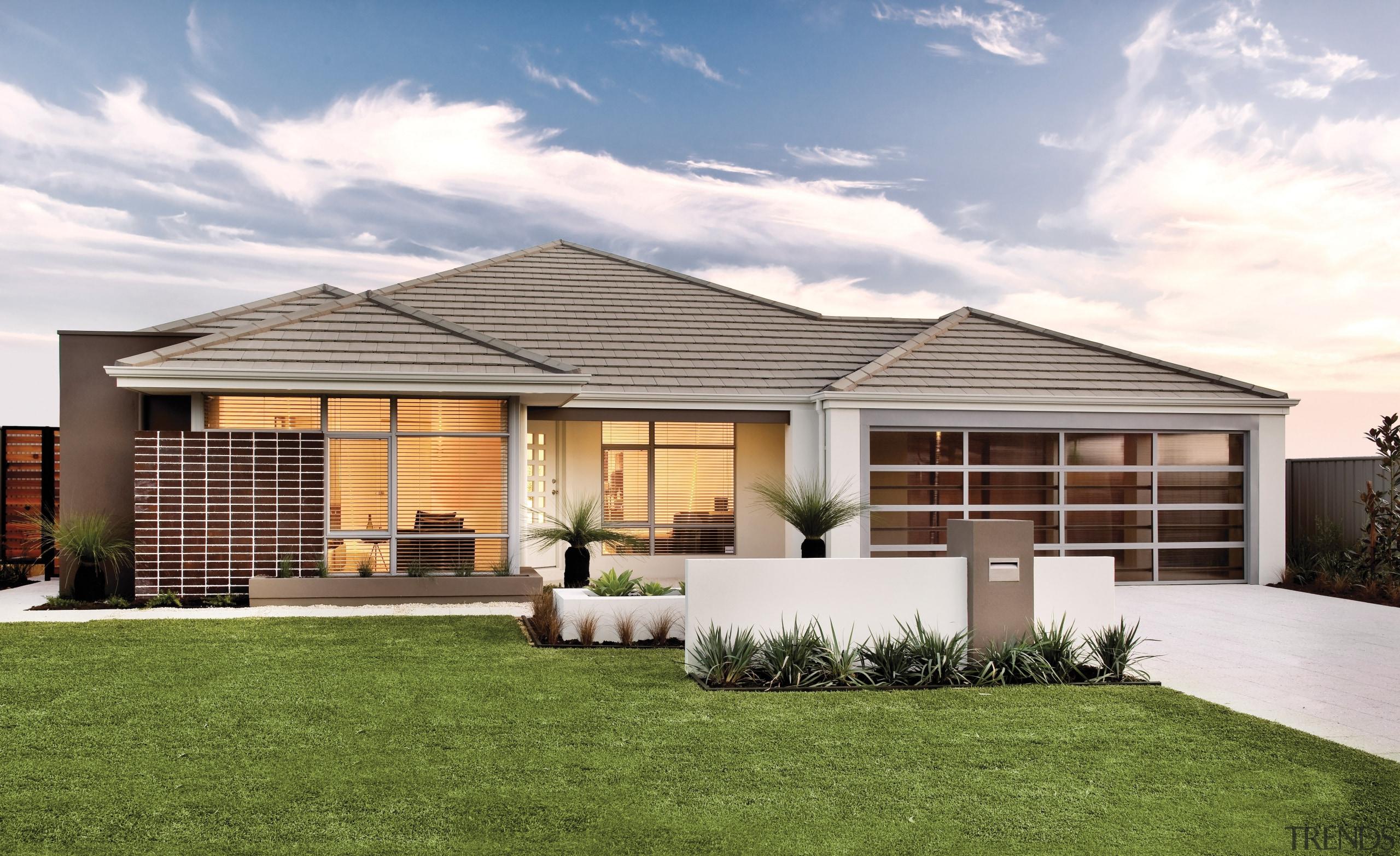 Monier Concrete Tiles - Horizon - Monier Concrete backyard, cottage, elevation, estate, facade, home, house, property, real estate, residential area, roof, siding, yard, brown, white