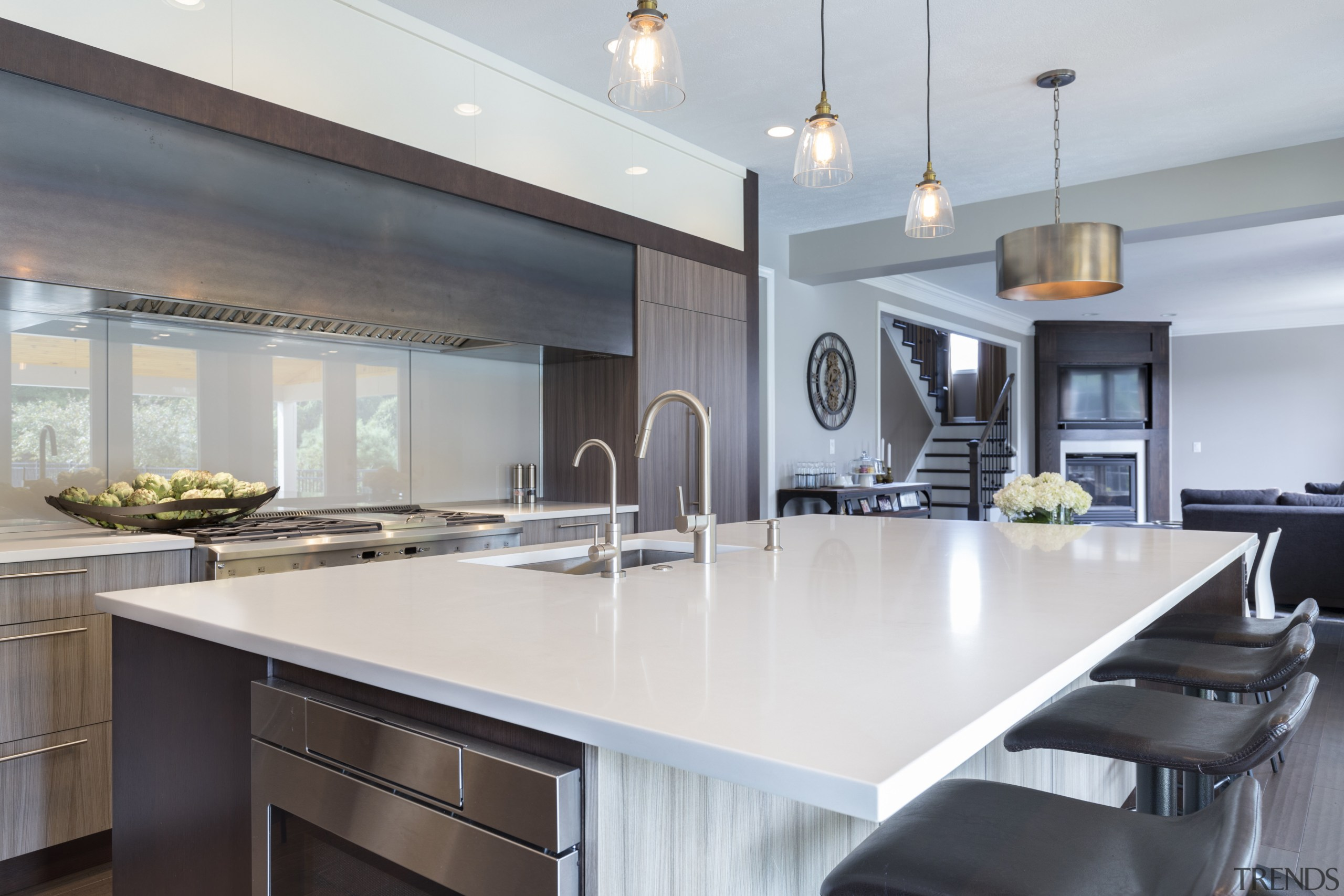 The two laminate finishes  a dark wood ceiling, countertop, cuisine classique, interior design, kitchen, real estate, gray