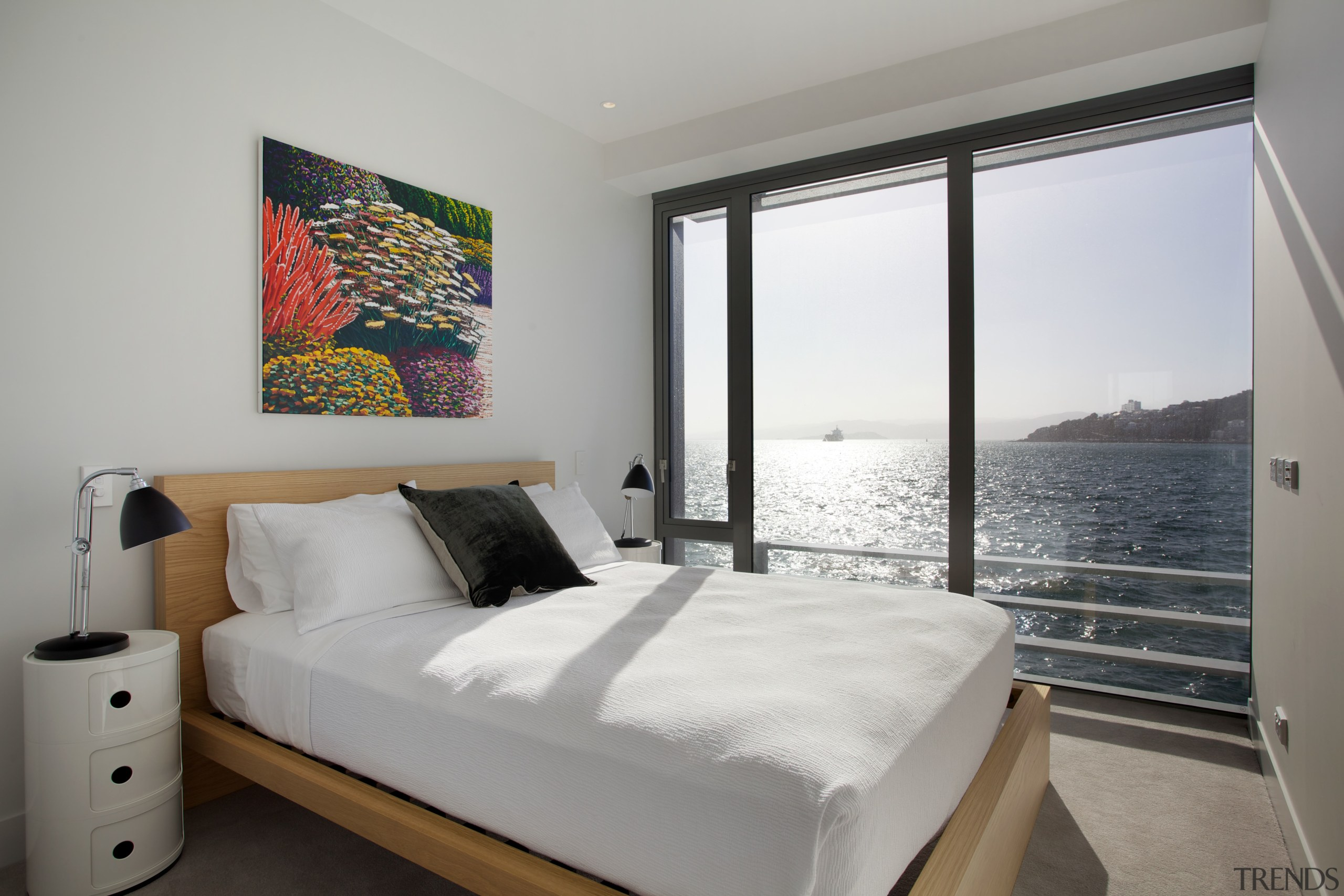 Bedrooms in the Clyde Quay Wharf apartment development bed frame, bedroom, home, interior design, property, real estate, room, suite, wall, window, gray