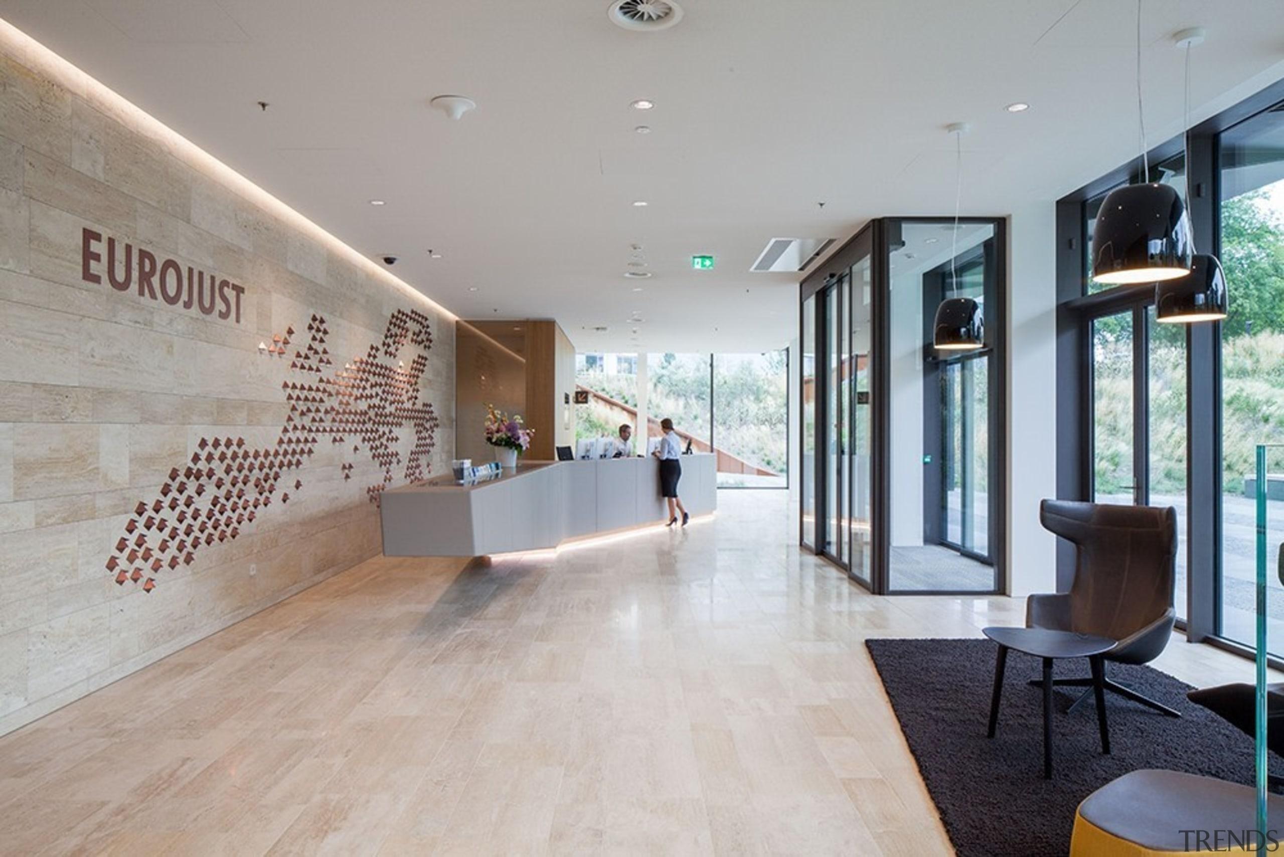 Eurojust - ceiling | floor | flooring | ceiling, floor, flooring, interior design, lobby, real estate, gray