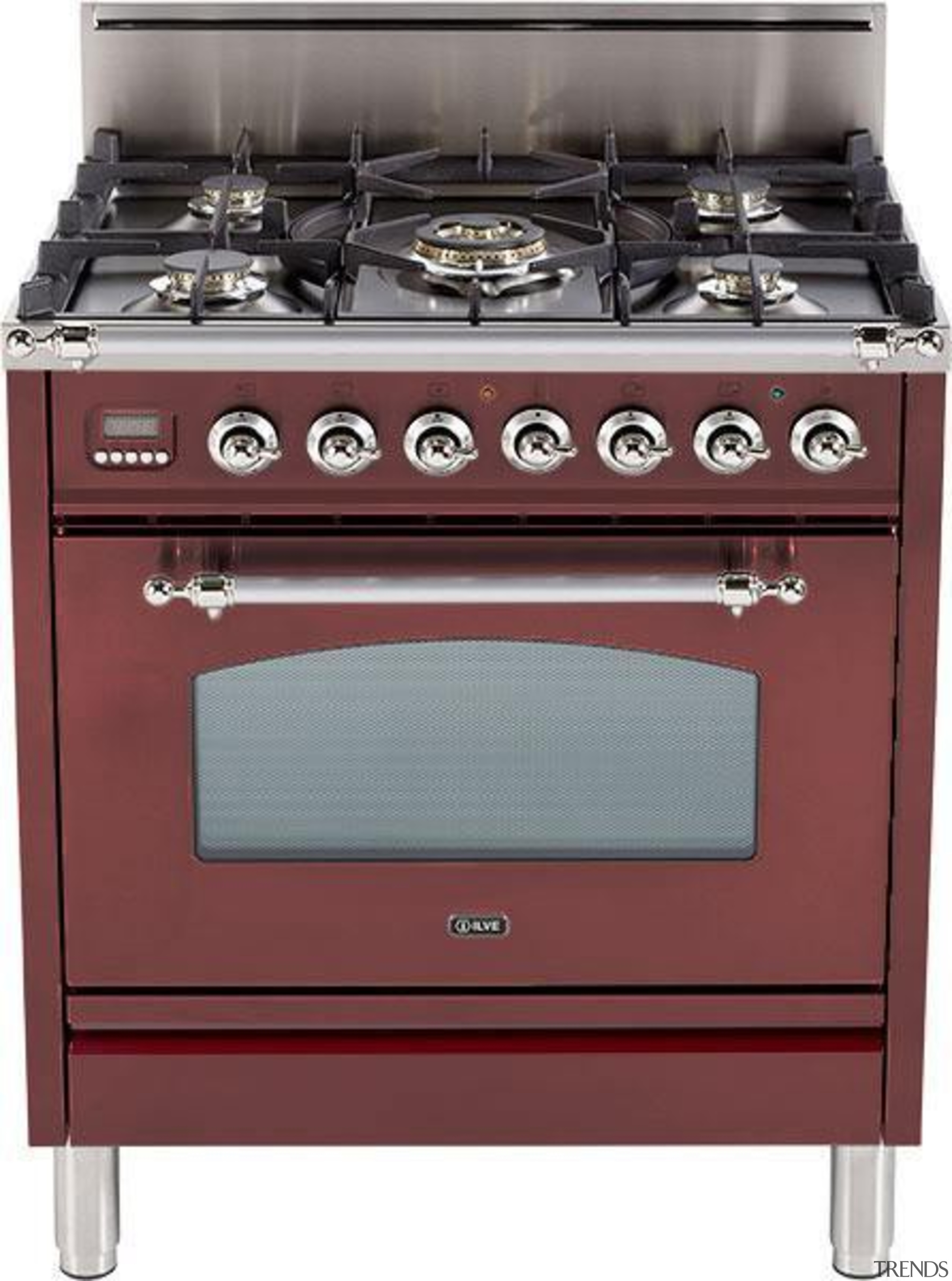 The Nostalgie series features many of the ILVE electronic instrument, gas stove, home appliance, kitchen appliance, kitchen stove, major appliance, product, red